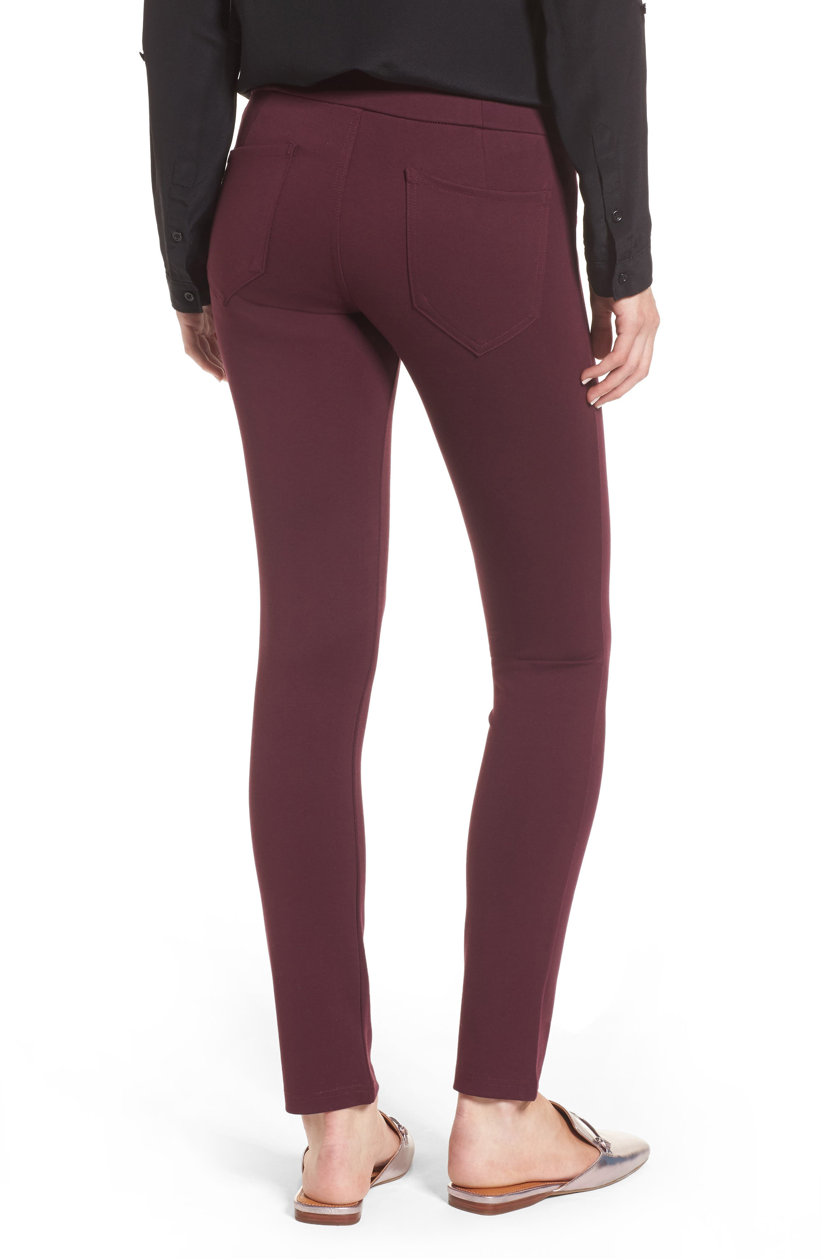High Waist Ponte Pants,                             Alternate thumbnail 2, color,                             Wine