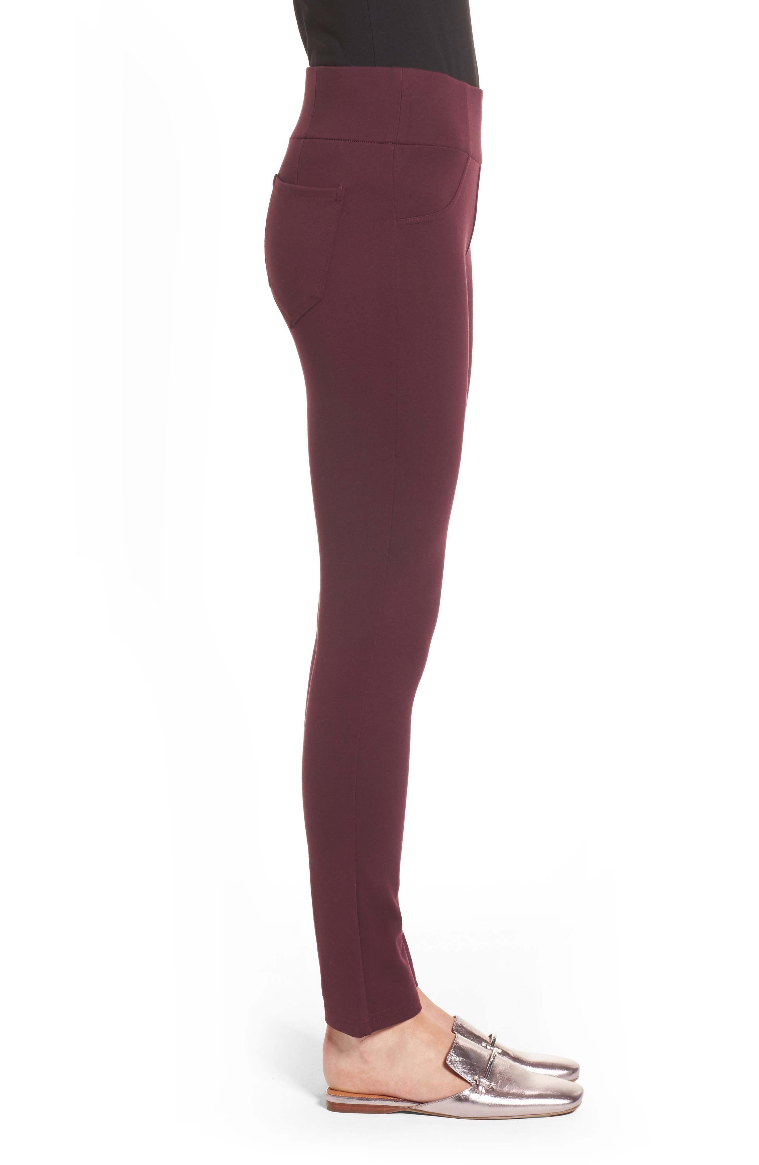 High Waist Ponte Pants,                             Alternate thumbnail 3, color,                             Wine