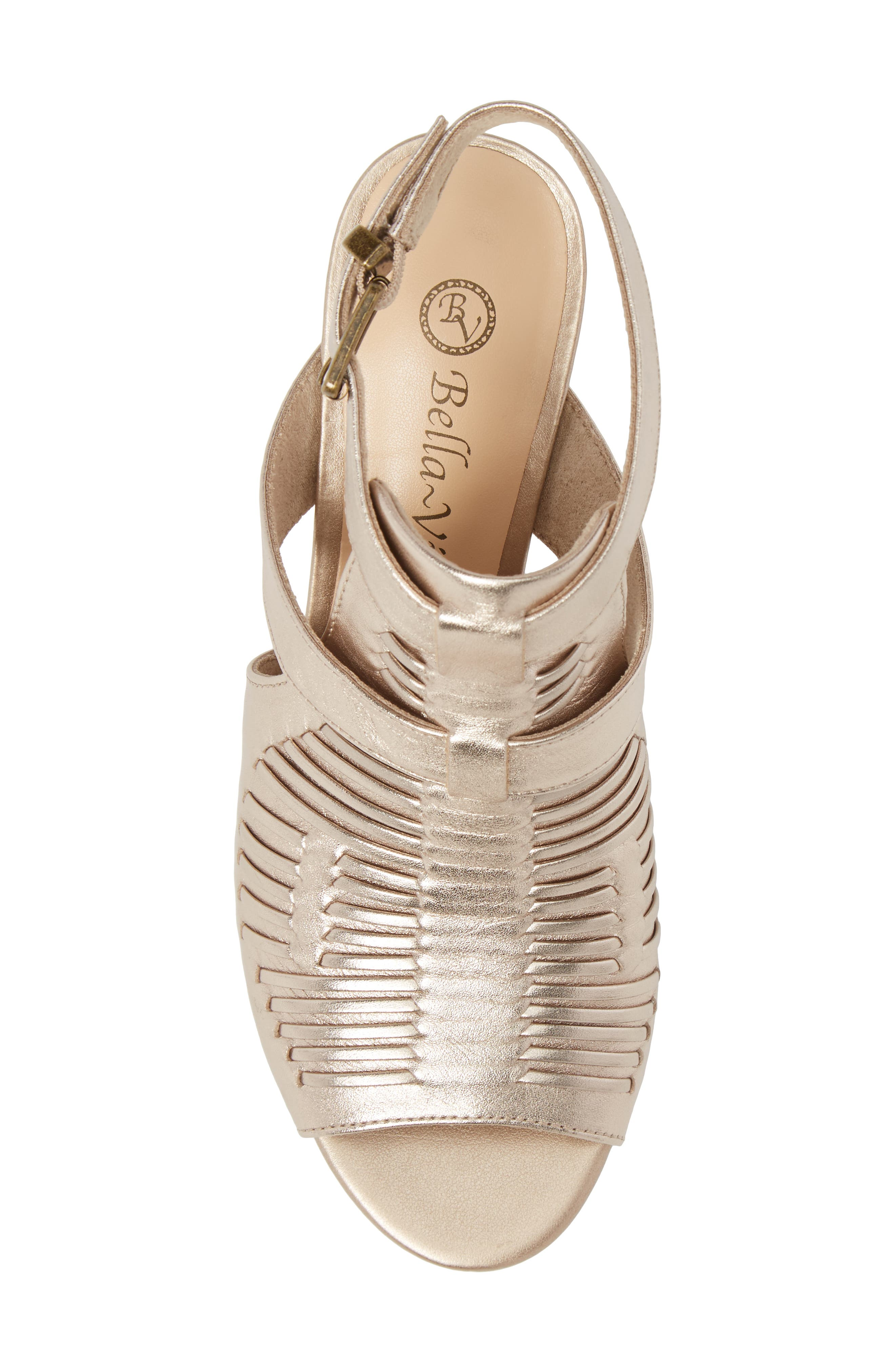 Finley Ankle Strap Sandal,                             Alternate thumbnail 5, color,                             Champagne Fabric