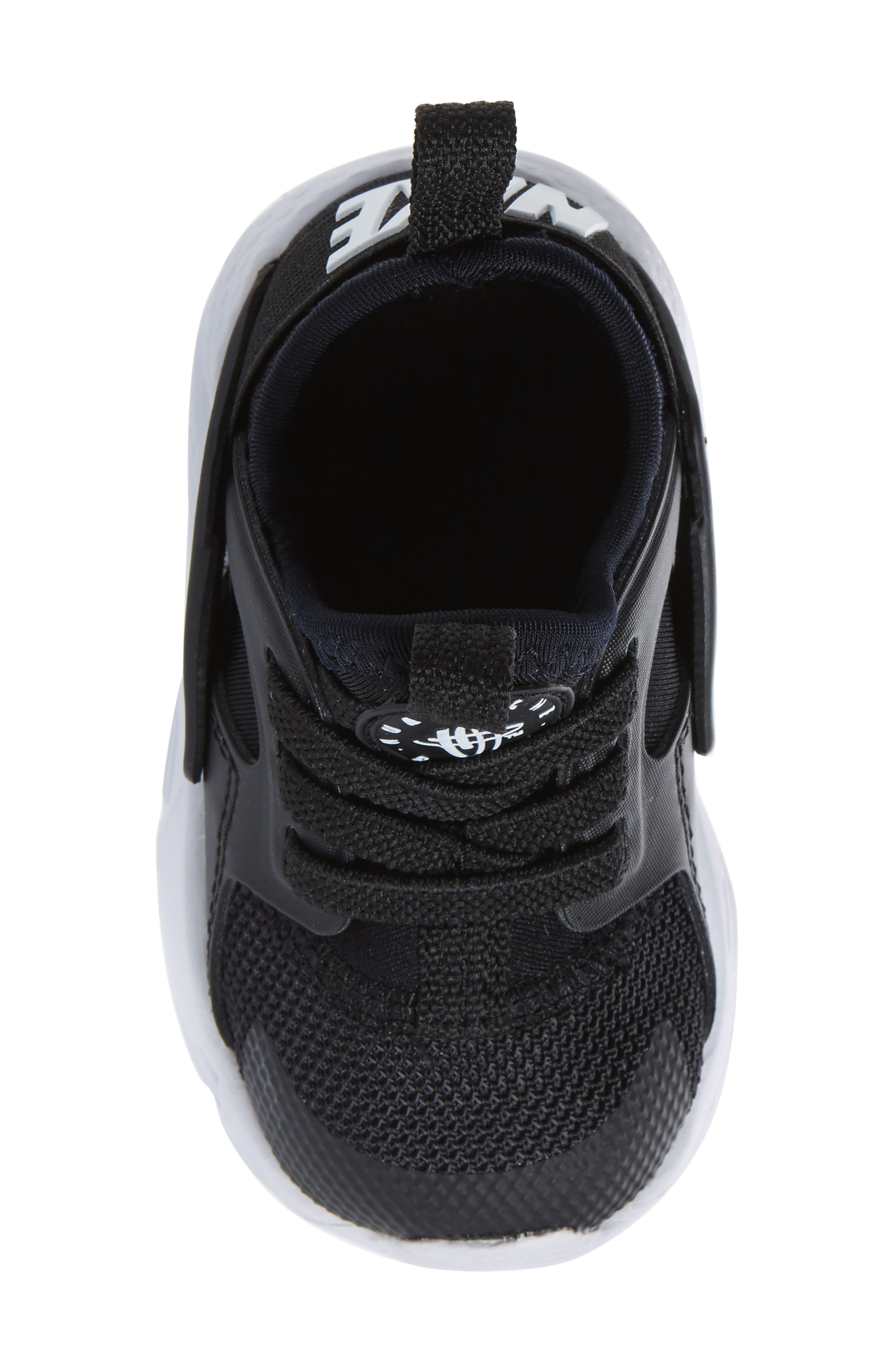 Air Huarache Run Ultra Sneaker,                             Alternate thumbnail 5, color,                             Black/ Black/ White