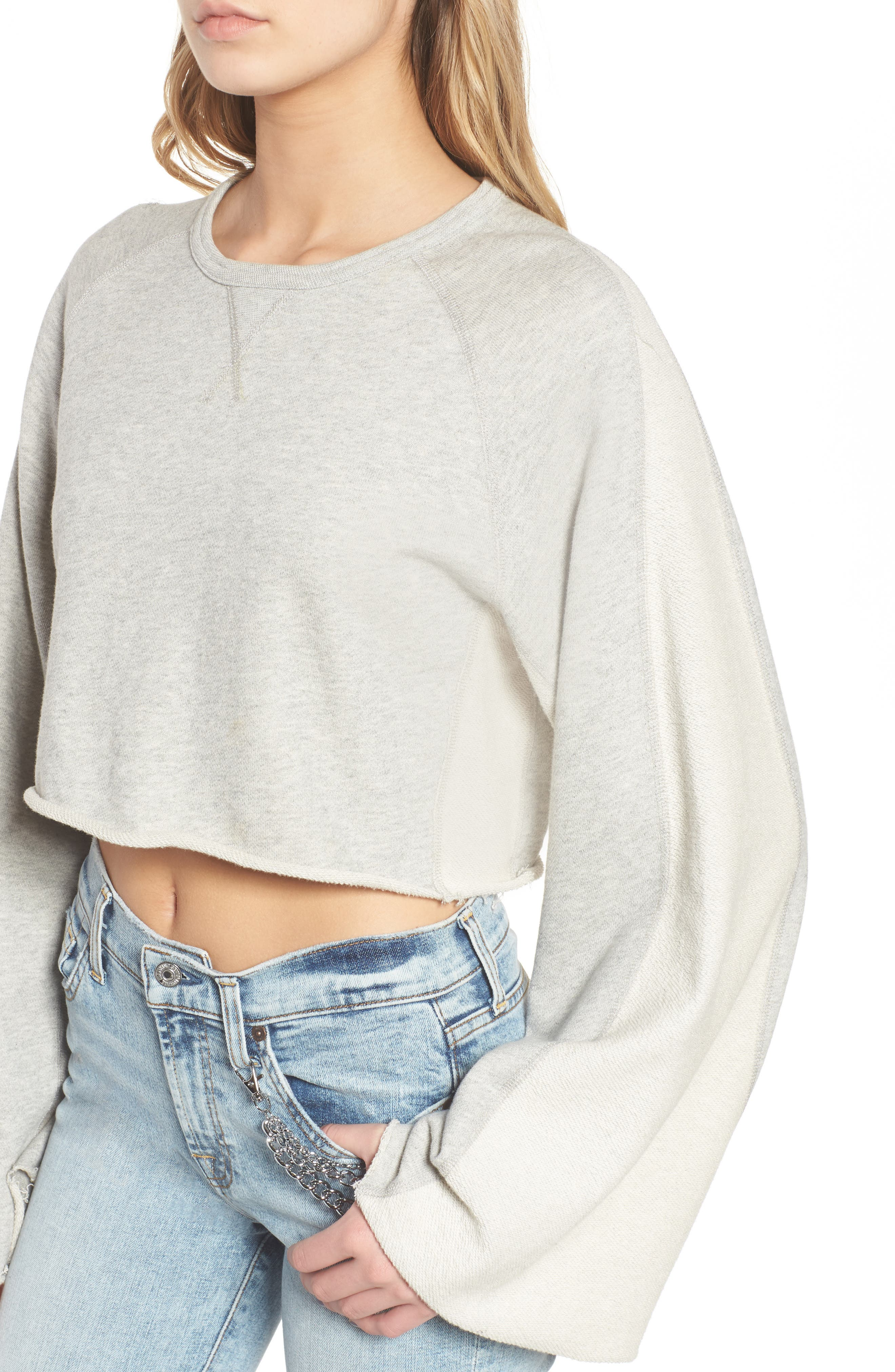 Flare Sleeve Crop Sweatshirt,                             Alternate thumbnail 4, color,                             Heather Grey