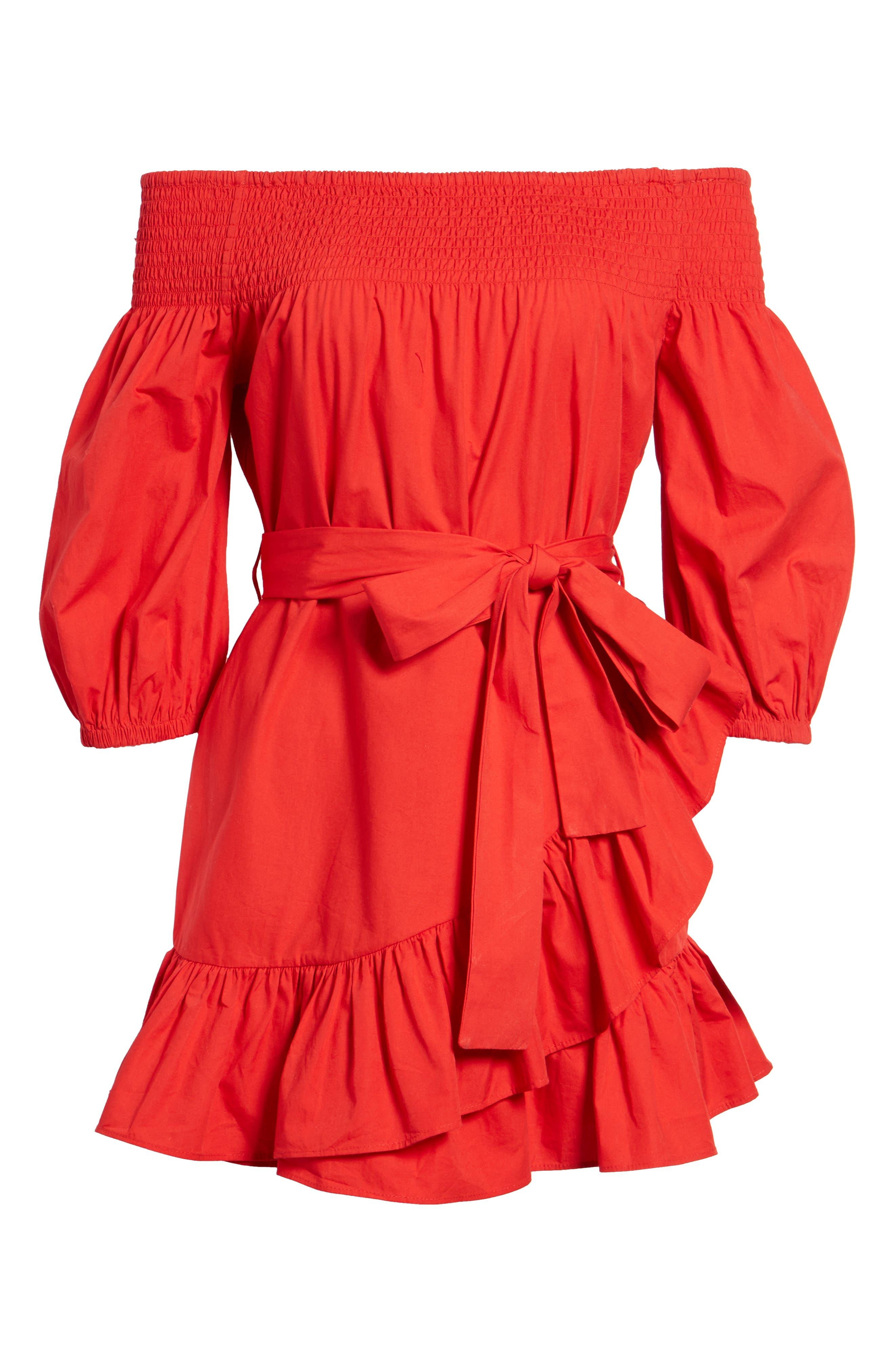 Maida Faux Wrap Ruffle Dress,                             Alternate thumbnail 6, color,                             Poppy