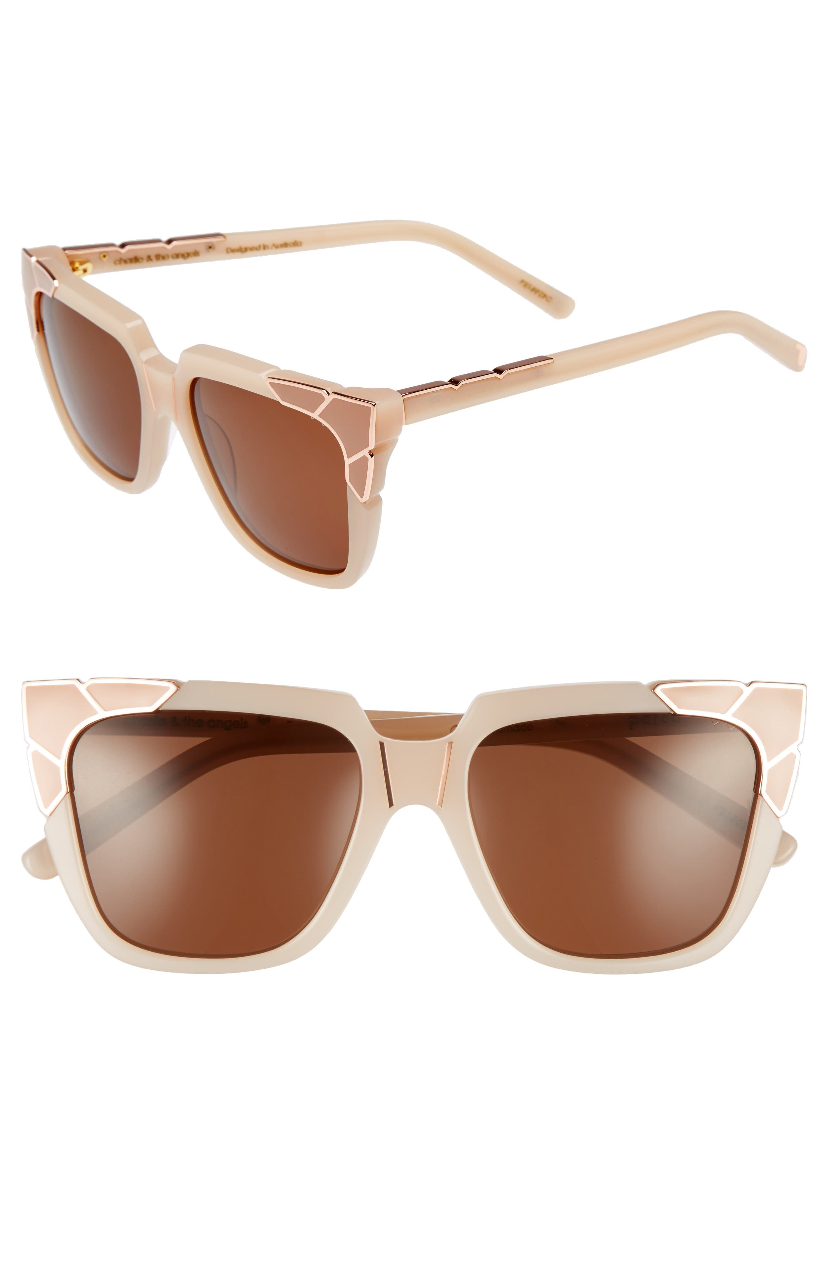 Charlie & the Angels 54mm Sunglasses,                             Main thumbnail 1, color,                             Blush/ Rose Gold/ Blush Brown