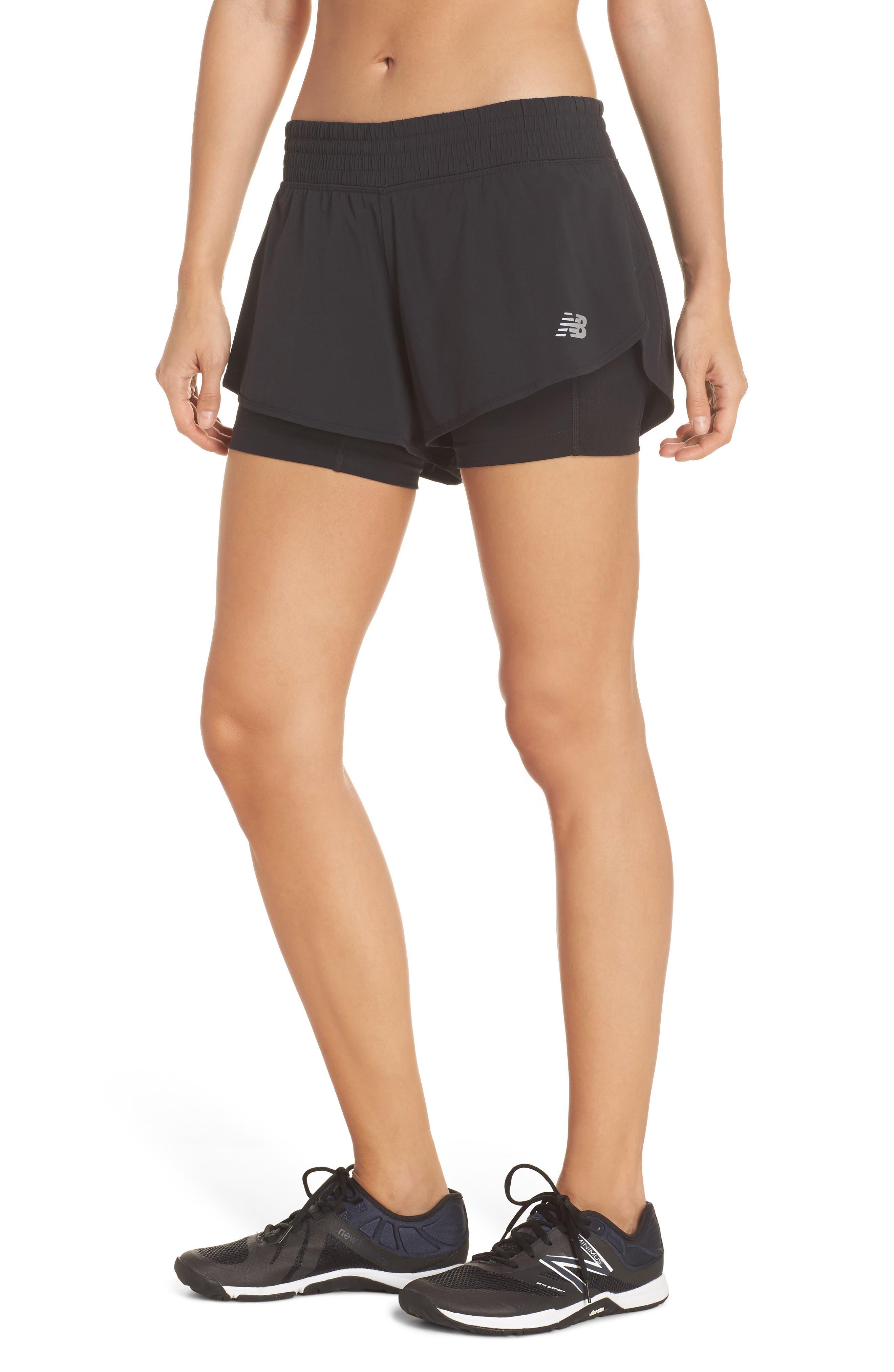 Impact Layered Running Shorts,                             Main thumbnail 1, color,                             Black