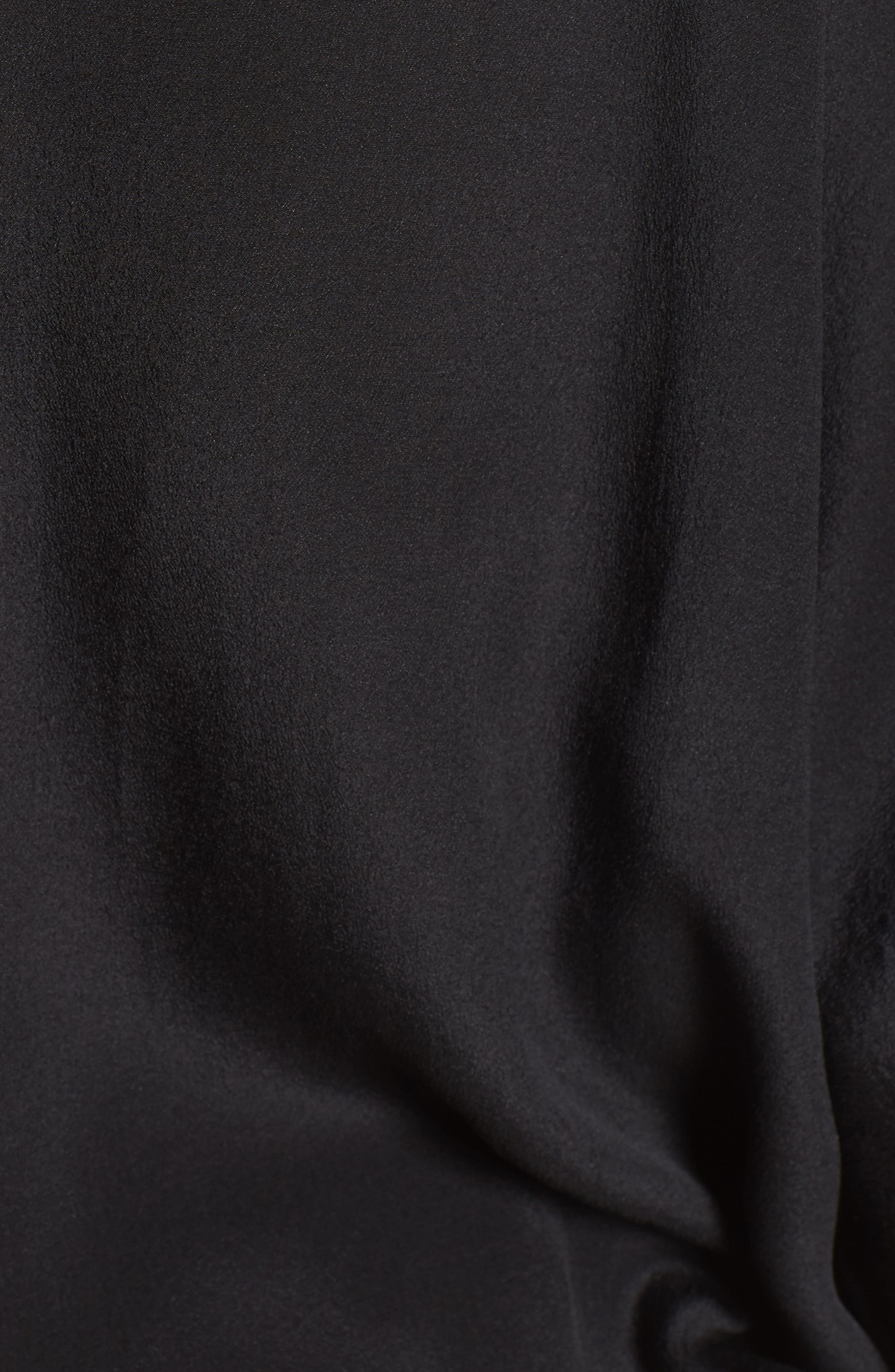 Drawstring Silk Tee,                             Alternate thumbnail 5, color,                             Black