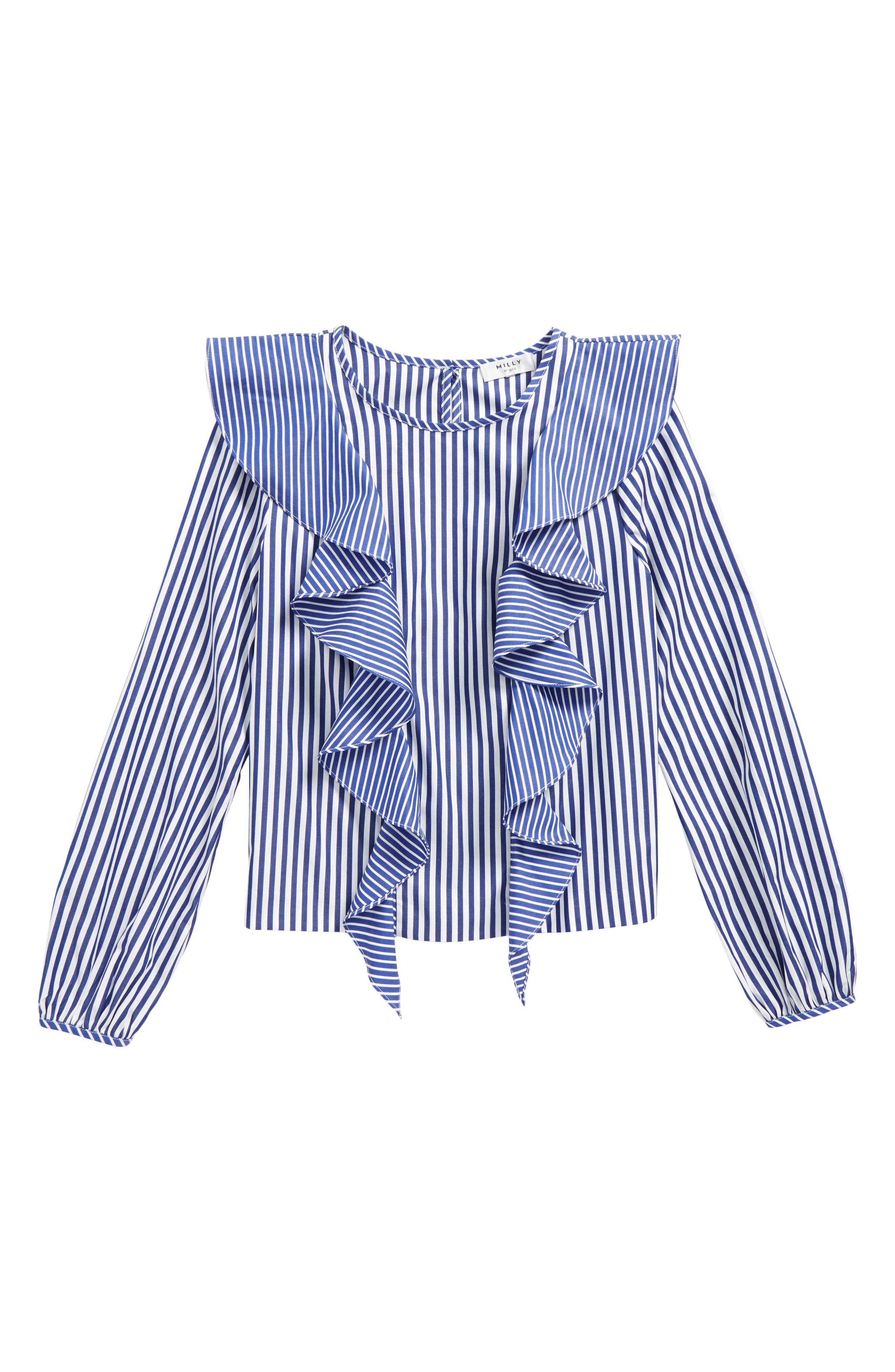 Alternate Image 1 Selected - Milly Minis Kennedy Ruffle Top (Big Girls)