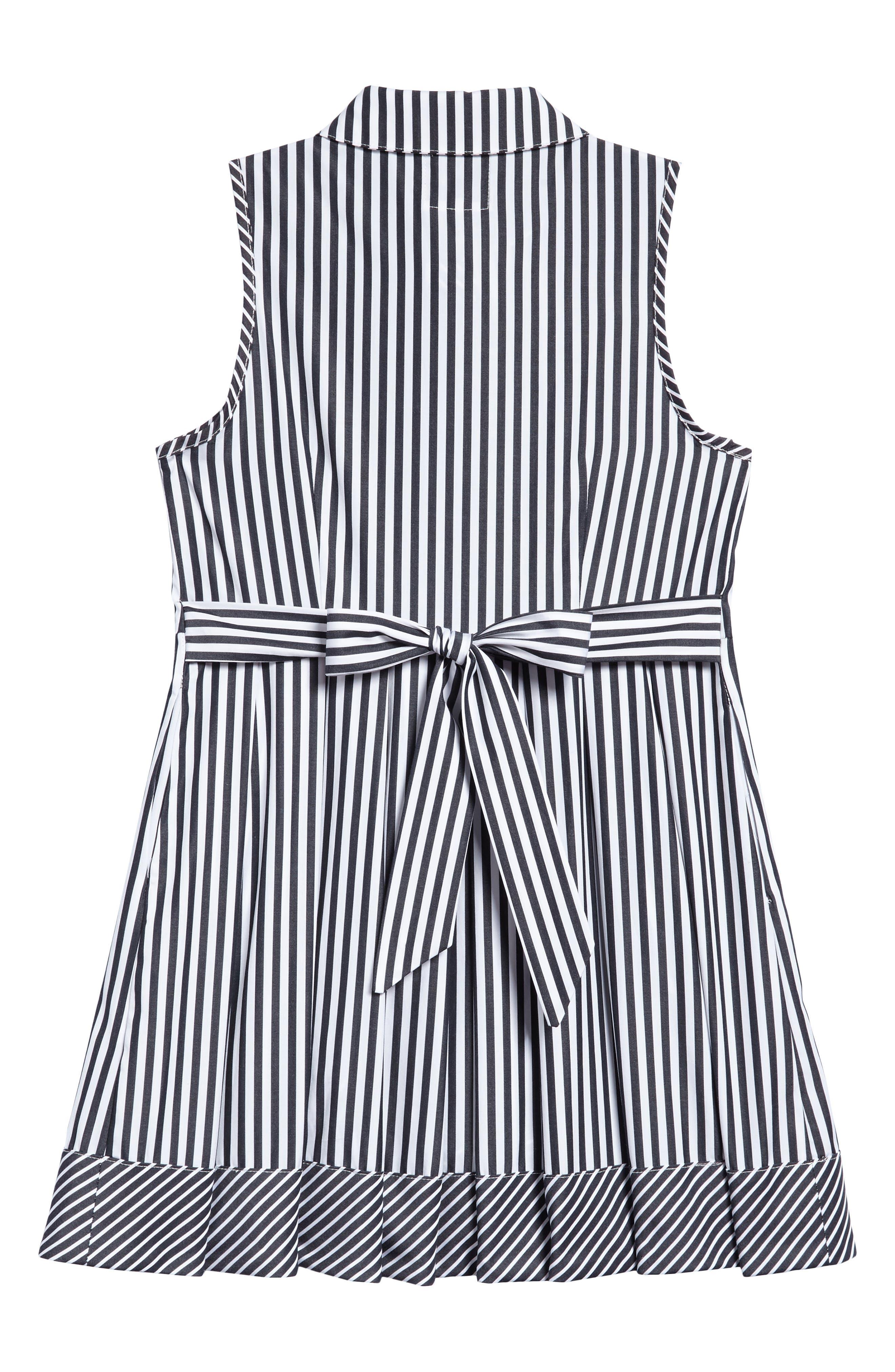 Stripe Shirtdress,                             Alternate thumbnail 2, color,                             Black