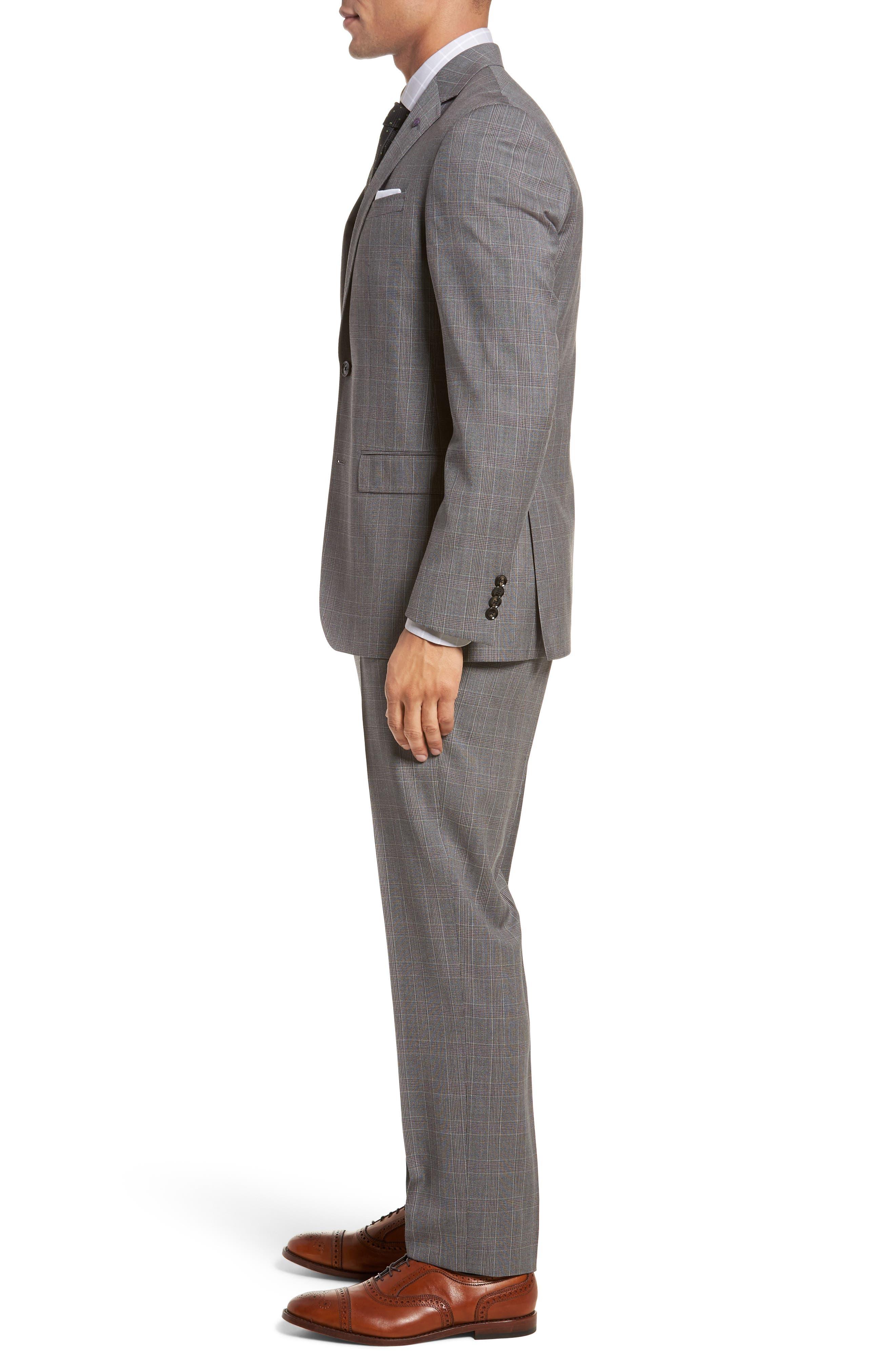 Jay Trim Fit Plaid Wool Suit,                             Alternate thumbnail 3, color,                             Grey