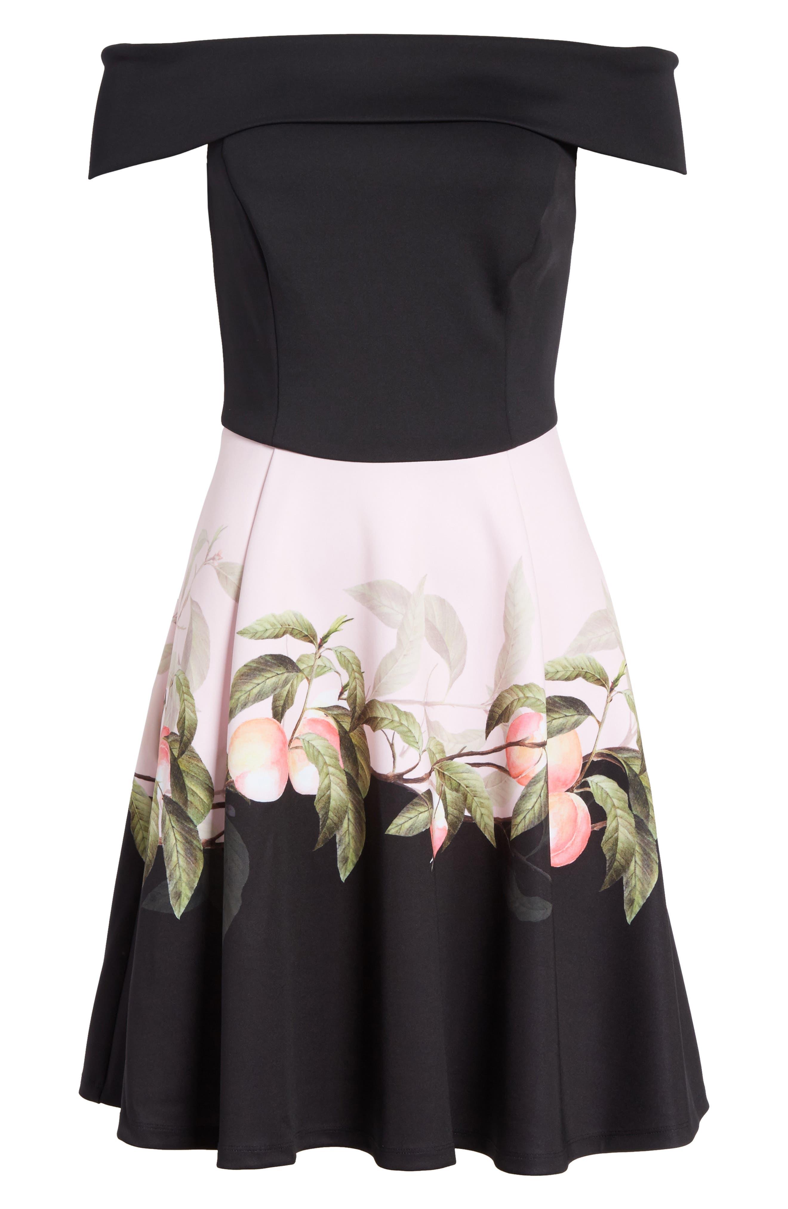 Peach Blossom Off the Shoulder Dress,                             Alternate thumbnail 6, color,                             Black