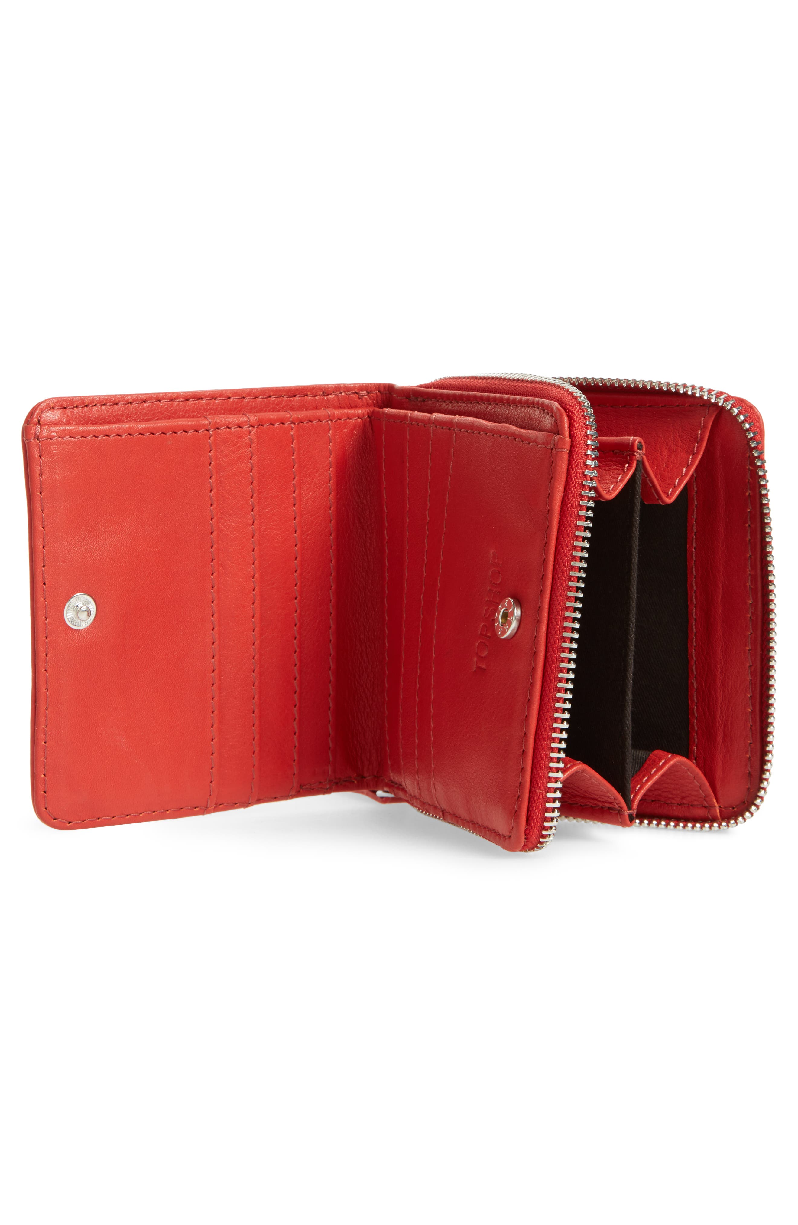 Leather Zip Around Wallet,                             Alternate thumbnail 2, color,                             Red
