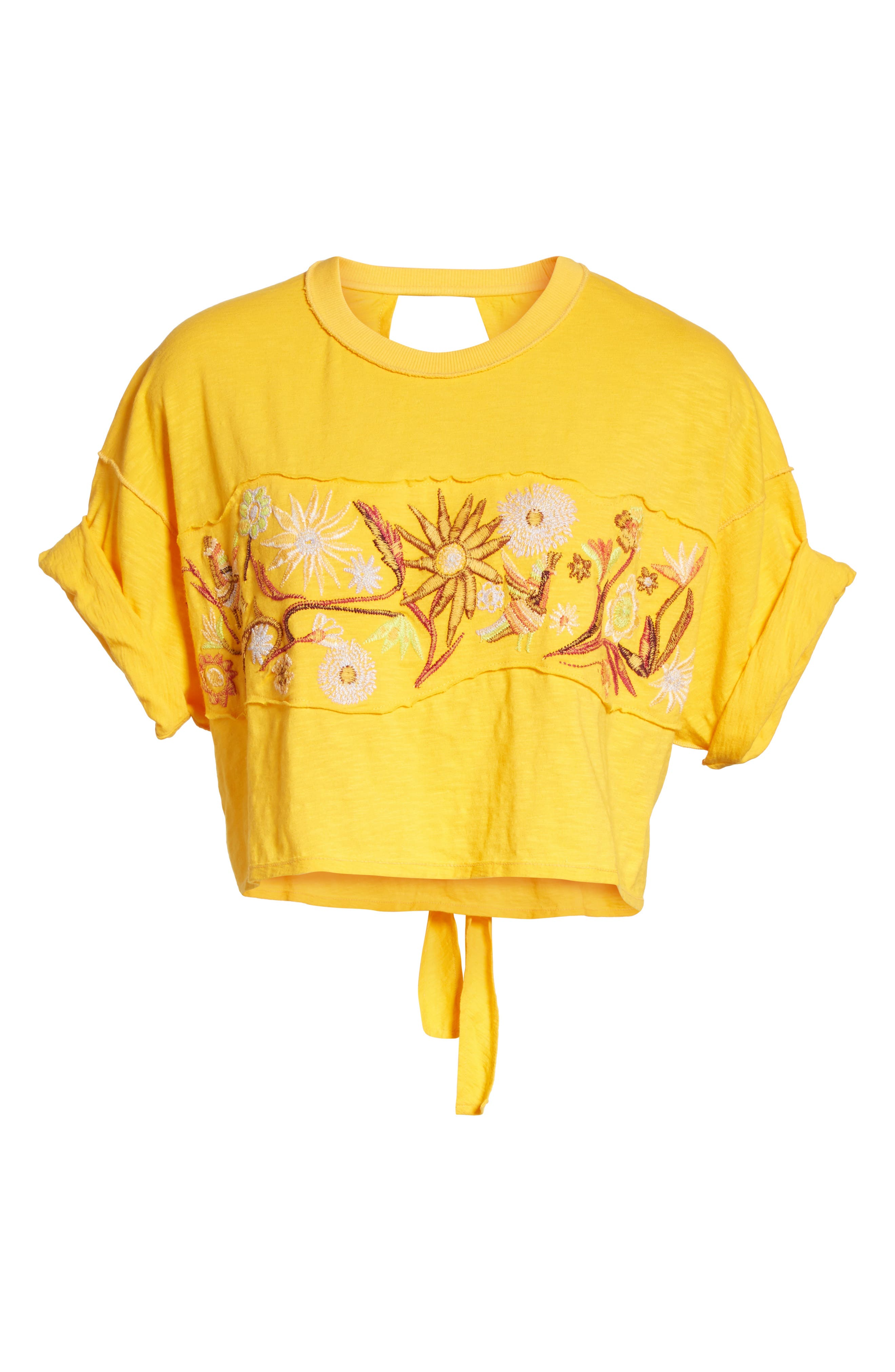 Garden Time Embroidered Tee,                             Alternate thumbnail 6, color,                             Yellow