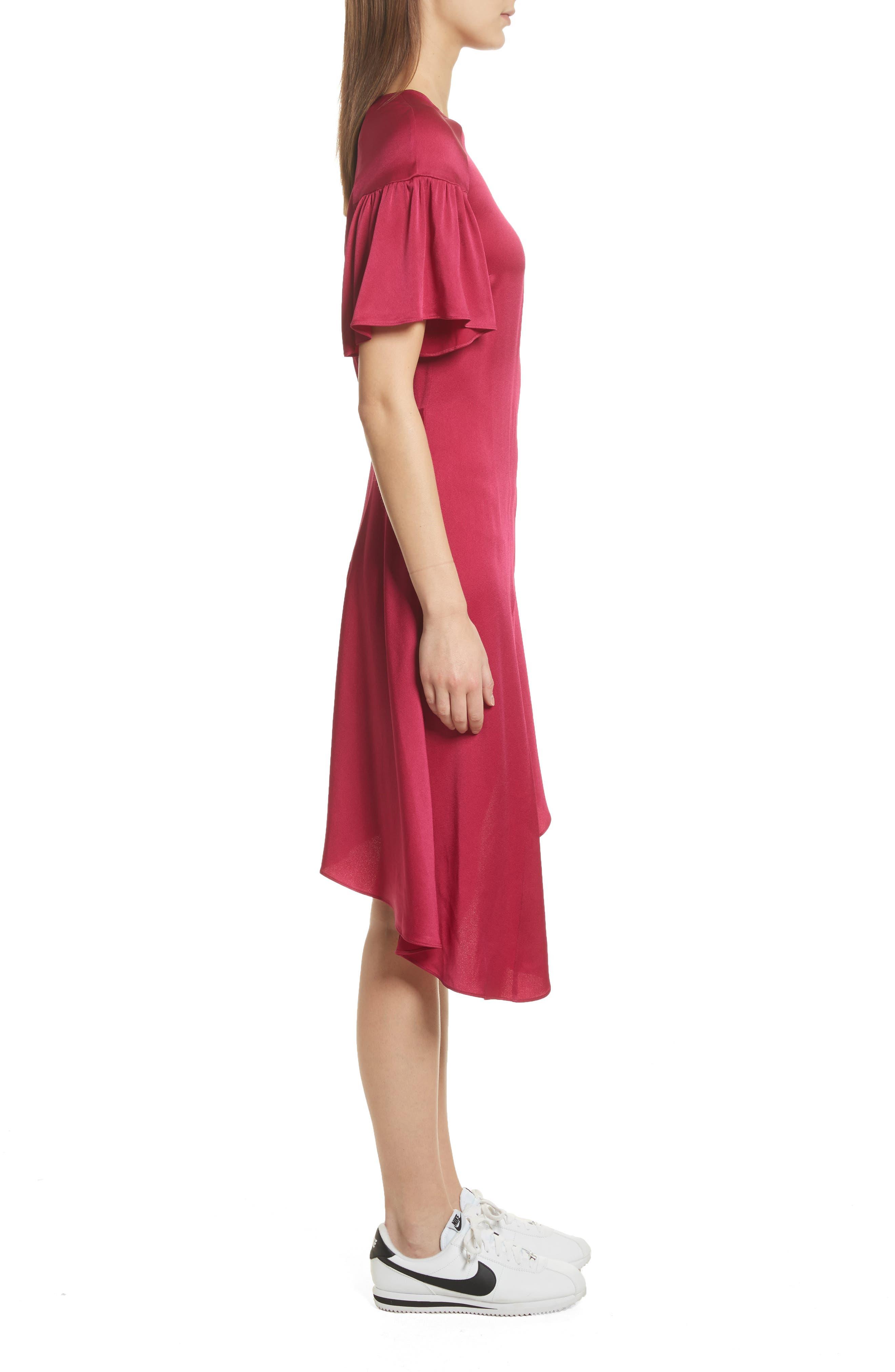 Tilly Asymmetrical Dress,                             Alternate thumbnail 3, color,                             Berry