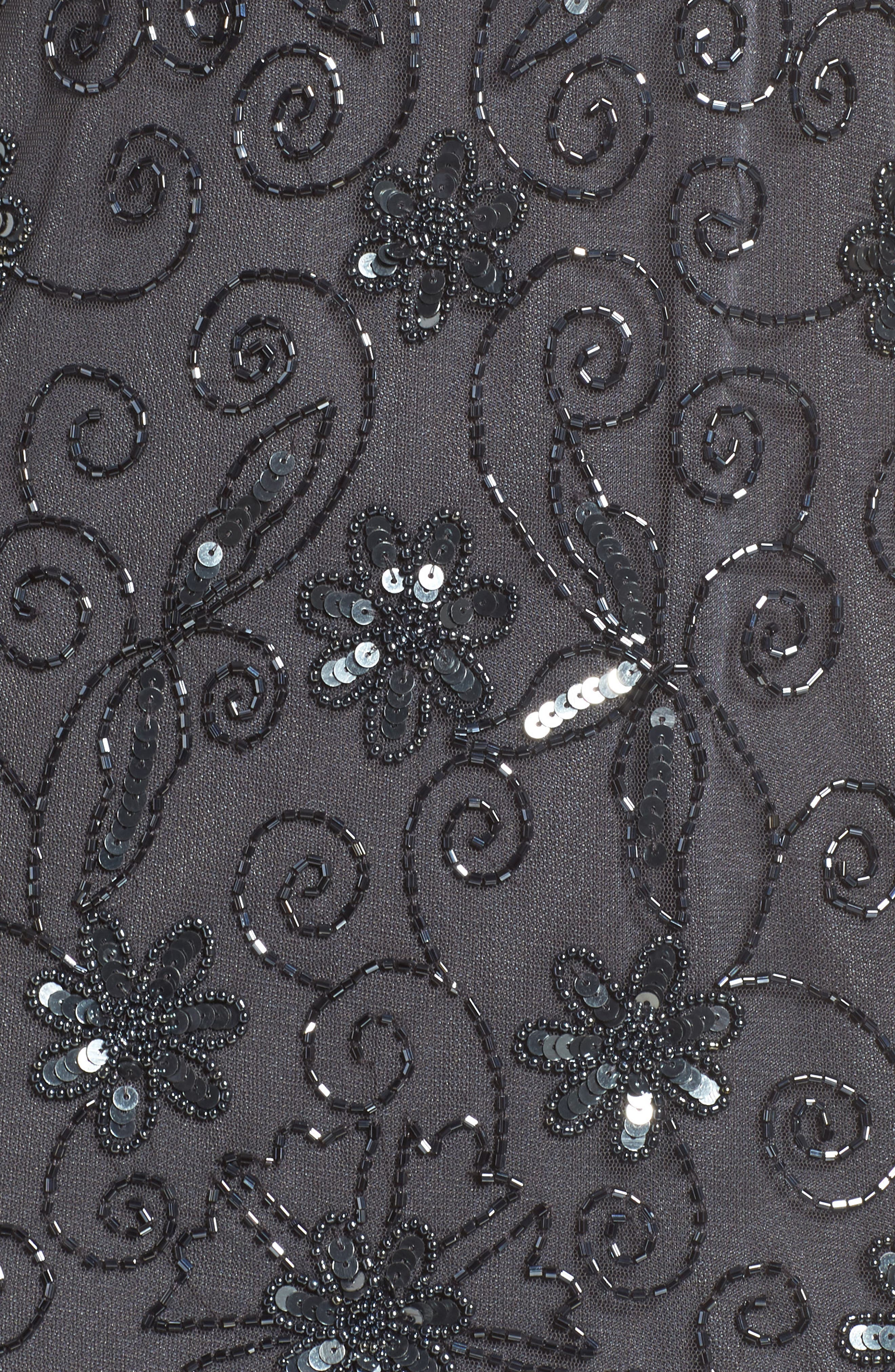 Beaded Mesh Sheath Dress,                             Alternate thumbnail 5, color,                             Smoke