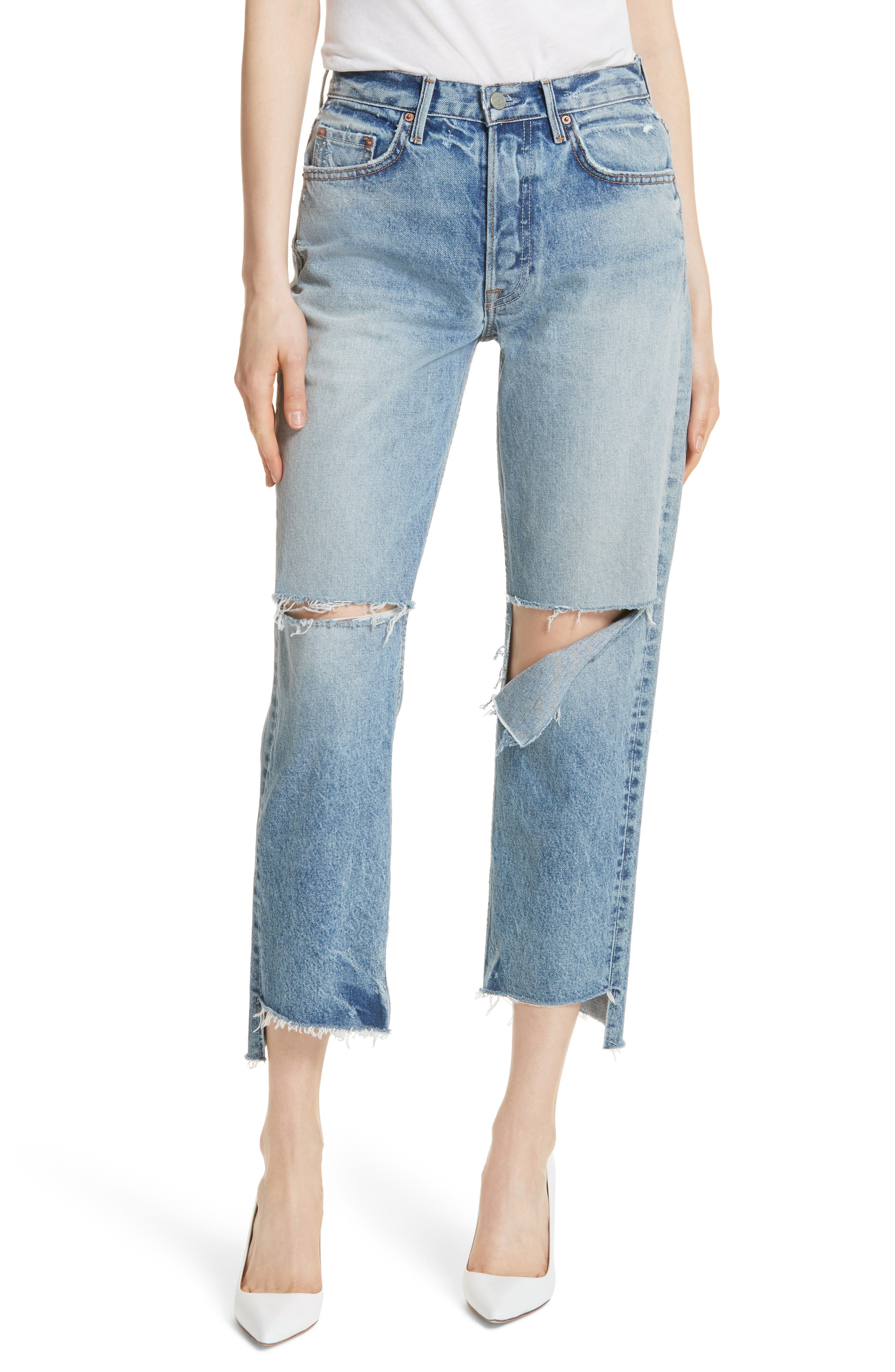 Helena Ripped Rigid High Waist Straight Jeans,                         Main,                         color, All Cut Up