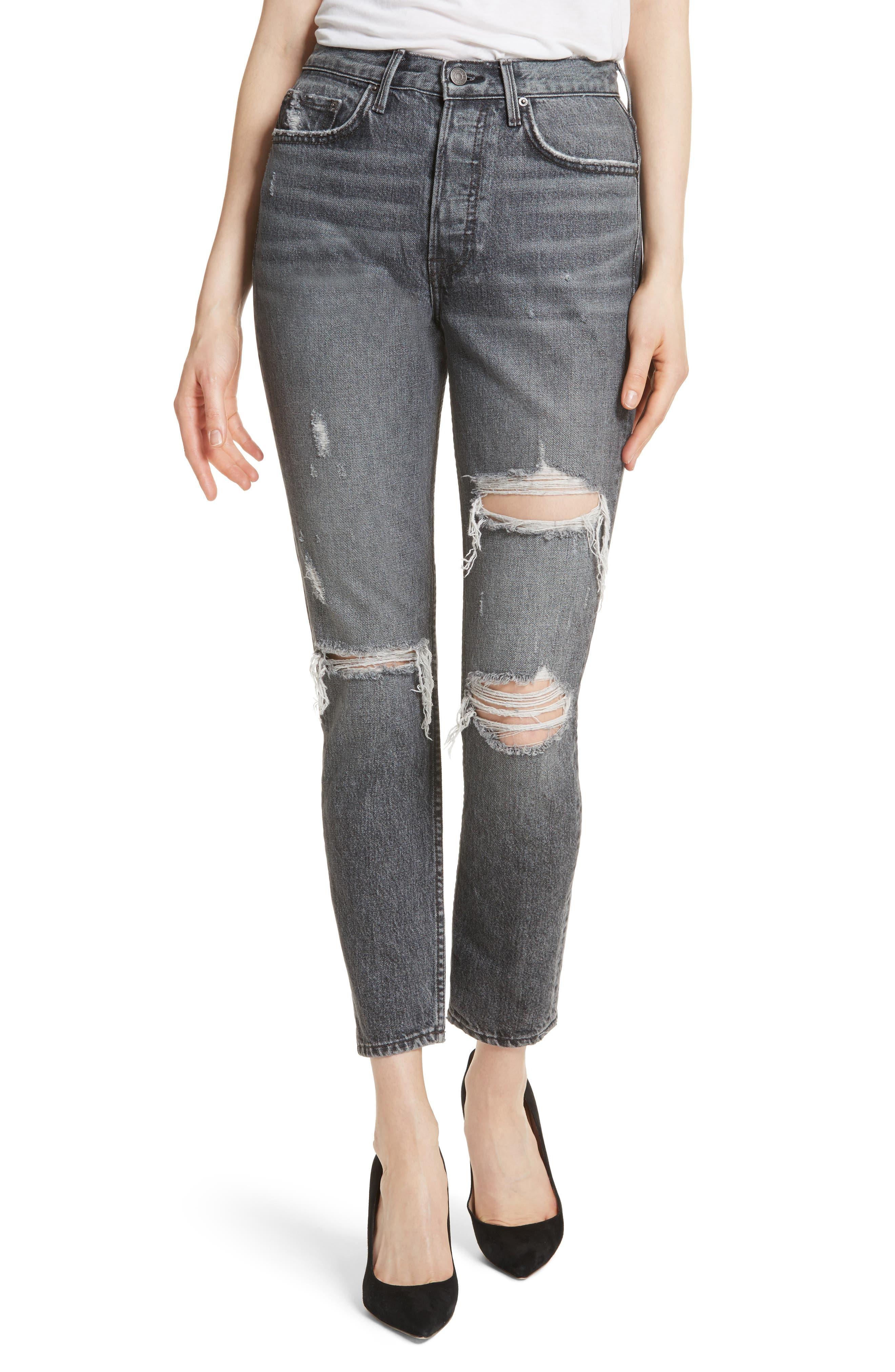 Karolina High Waist Skinny Jeans,                             Main thumbnail 1, color,                             Flint