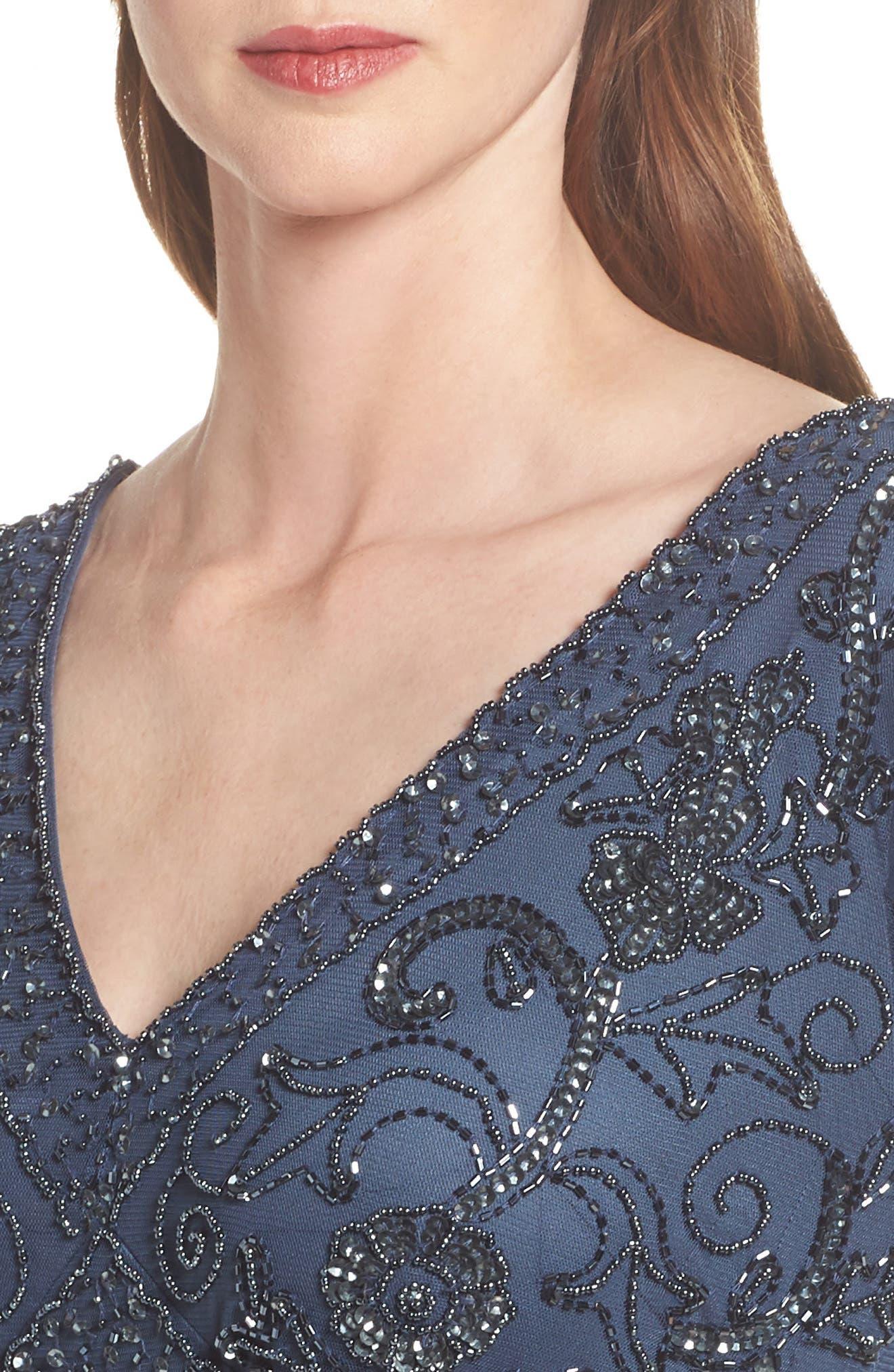 Beaded Mesh Tea Length Dress,                             Alternate thumbnail 4, color,                             Blue