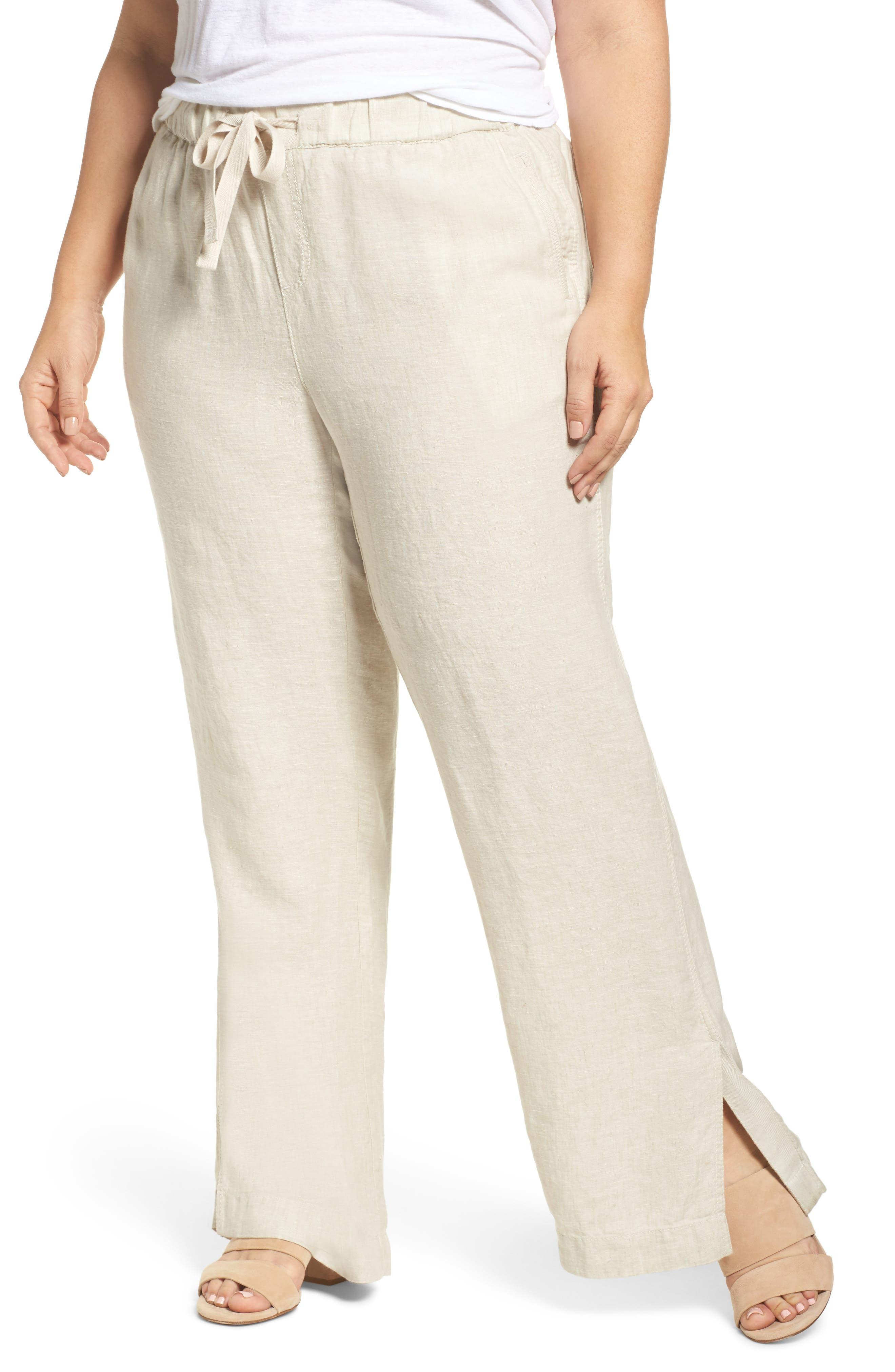 Linen Track Pants,                         Main,                         color, Flax