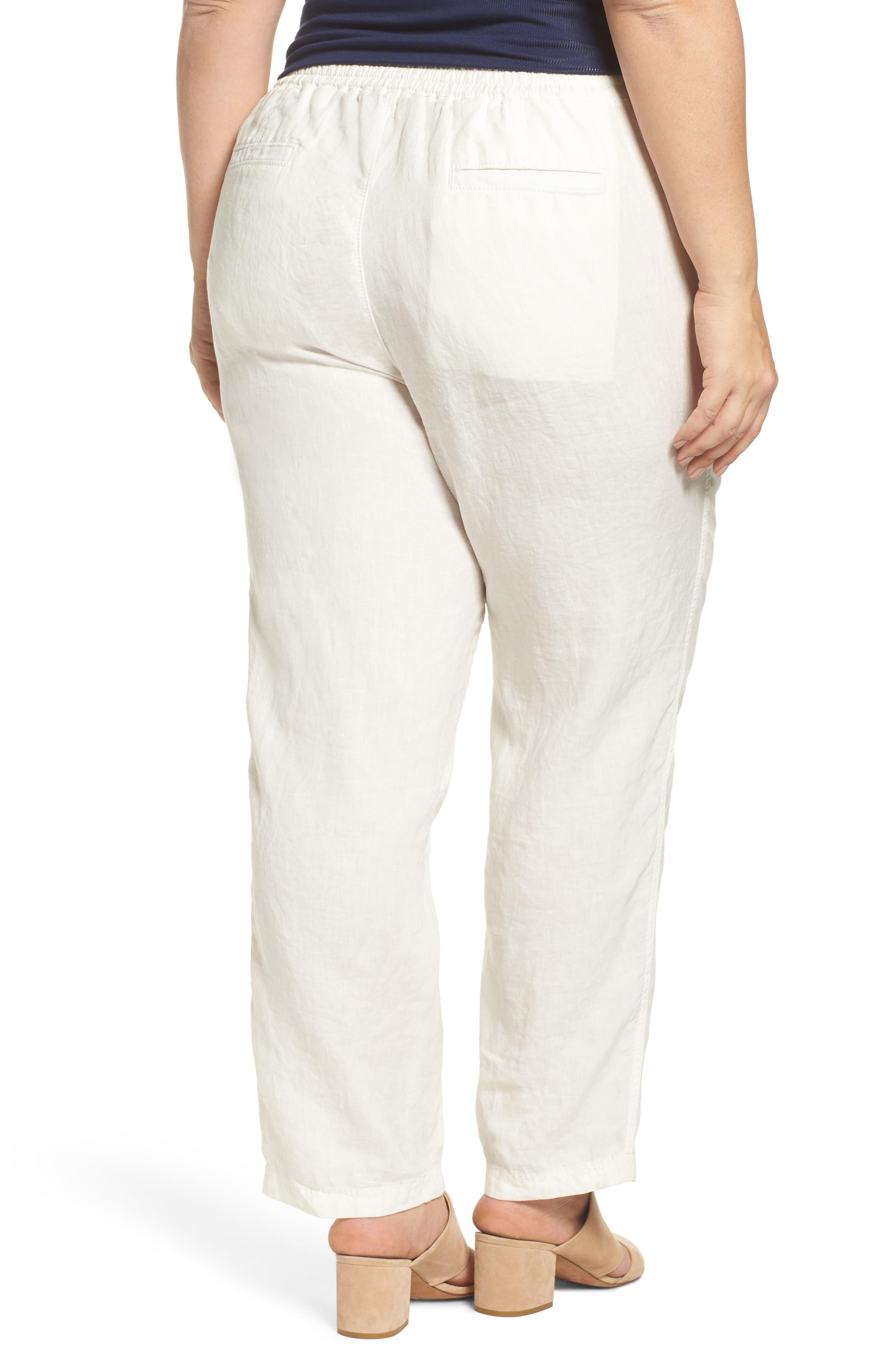 Linen Drawstring Pants,                             Alternate thumbnail 2, color,                             Ivory Cloud