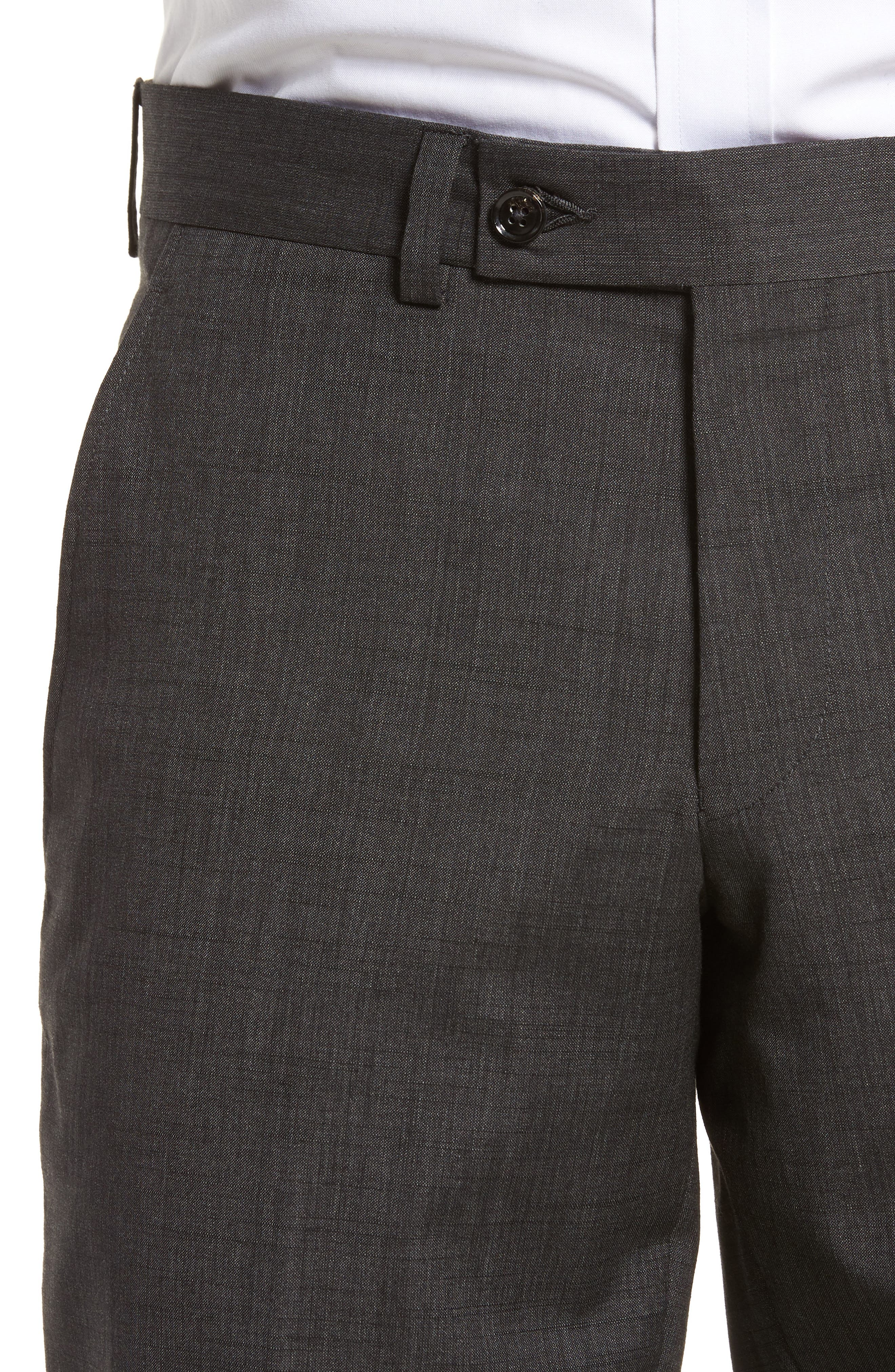 Jerome Flat Front Solid Wool & Cotton Trousers,                             Alternate thumbnail 4, color,                             Charcoal