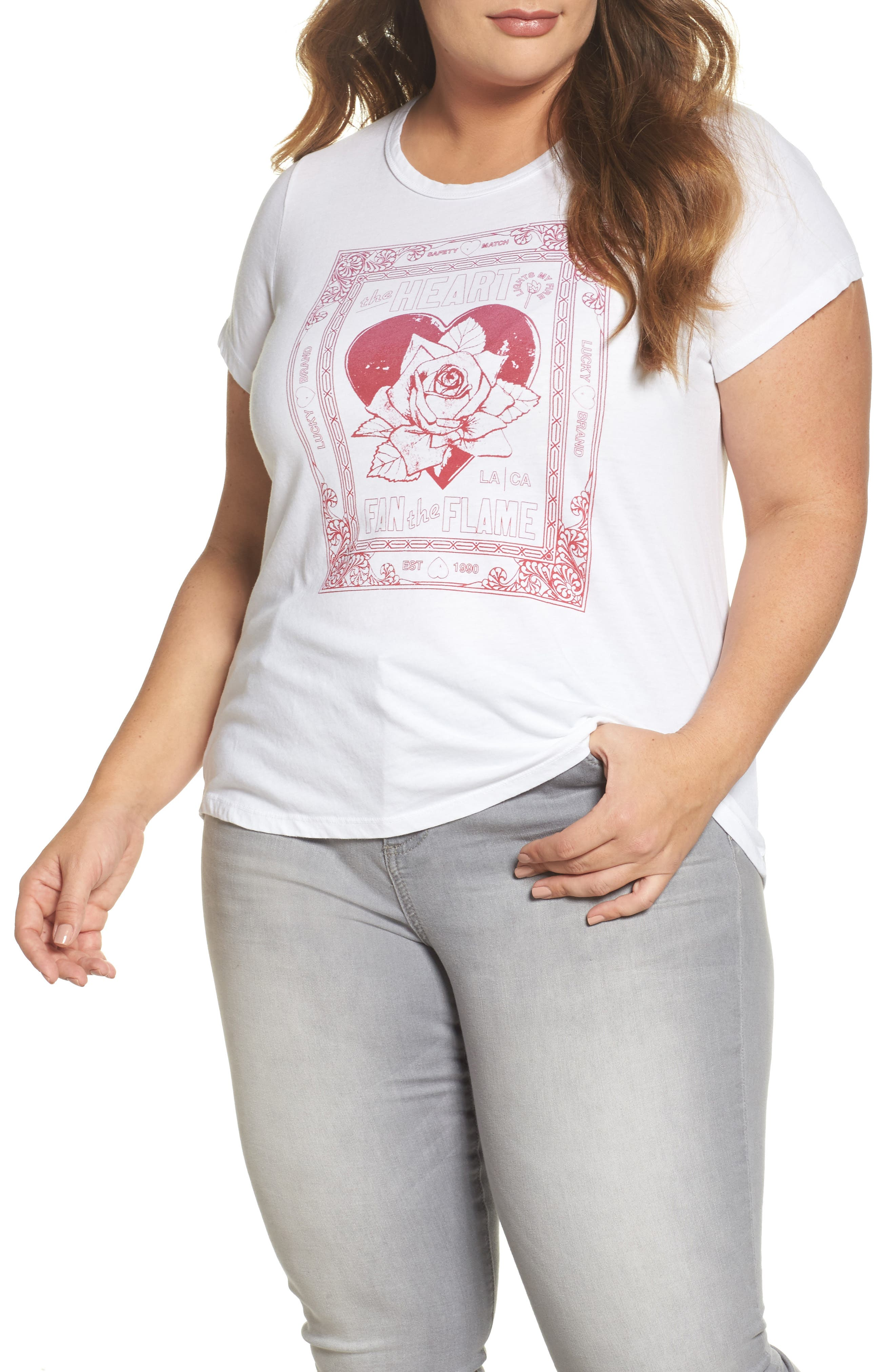 Heart Matchbox Ruched Tee,                         Main,                         color, Lucky White