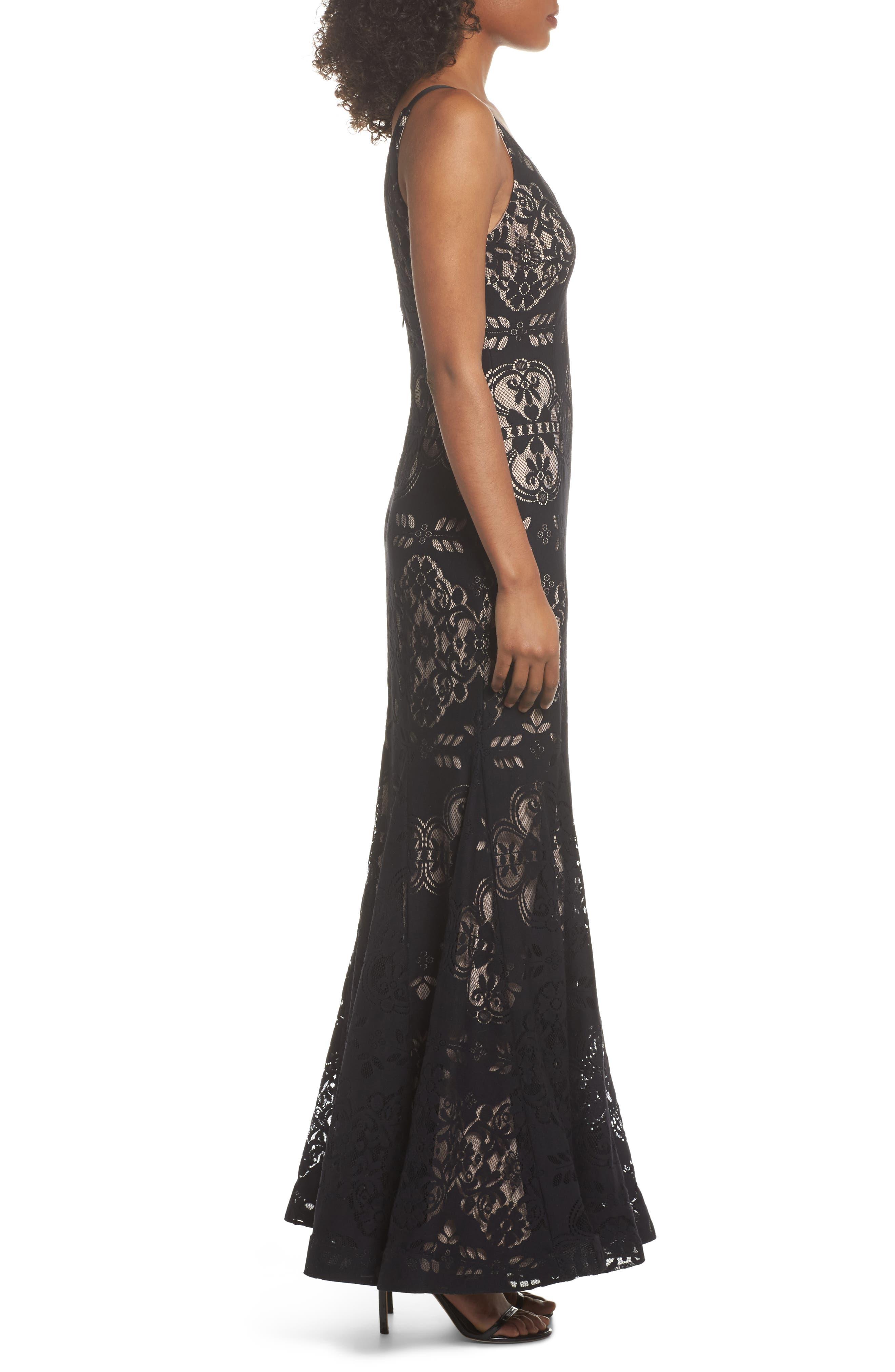Lace V-Neck Gown,                             Alternate thumbnail 3, color,                             Black/ Nude