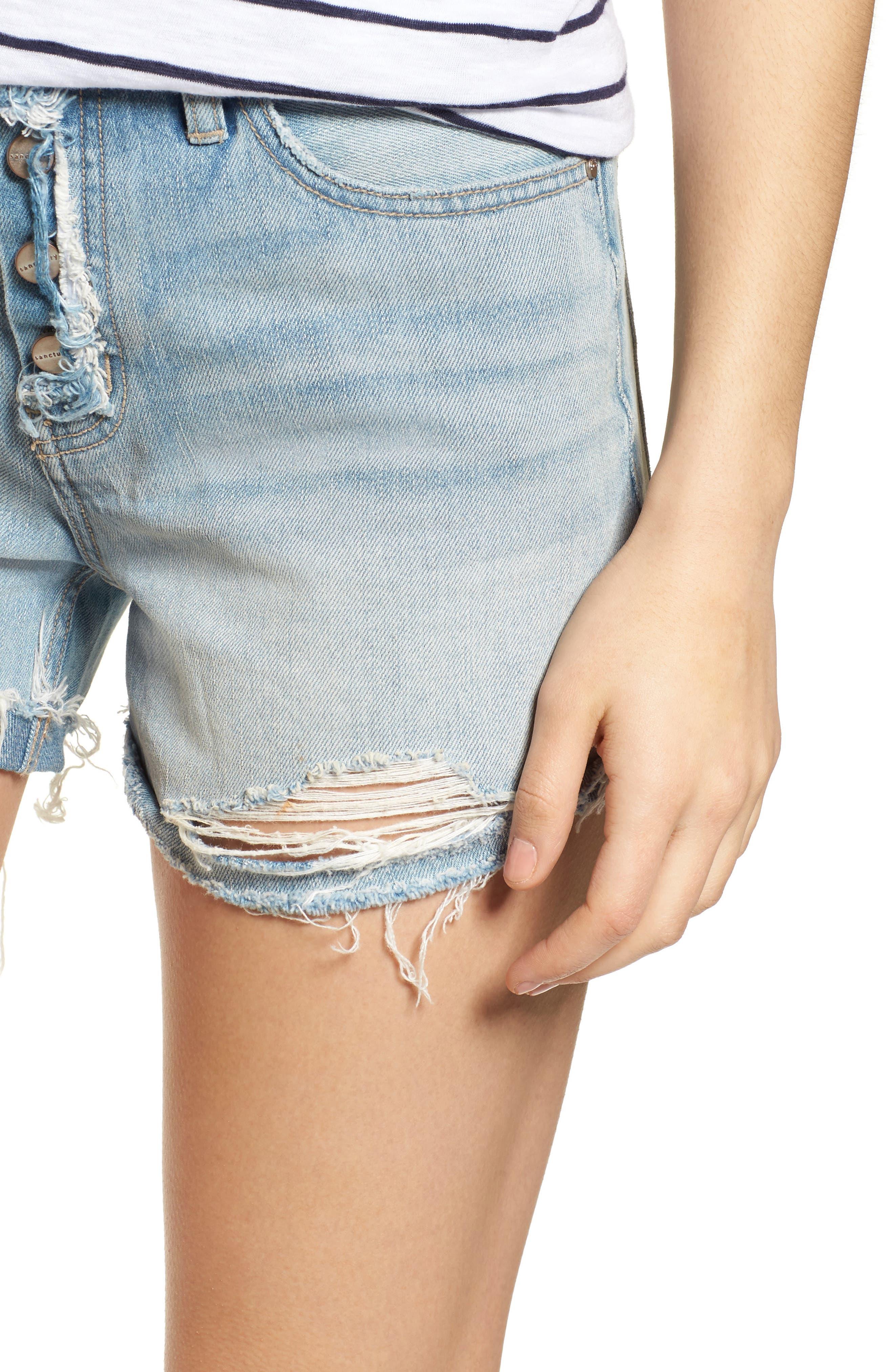 Distressed Fray Hem Rolled Shorts,                             Alternate thumbnail 5, color,                             Olivia Wash