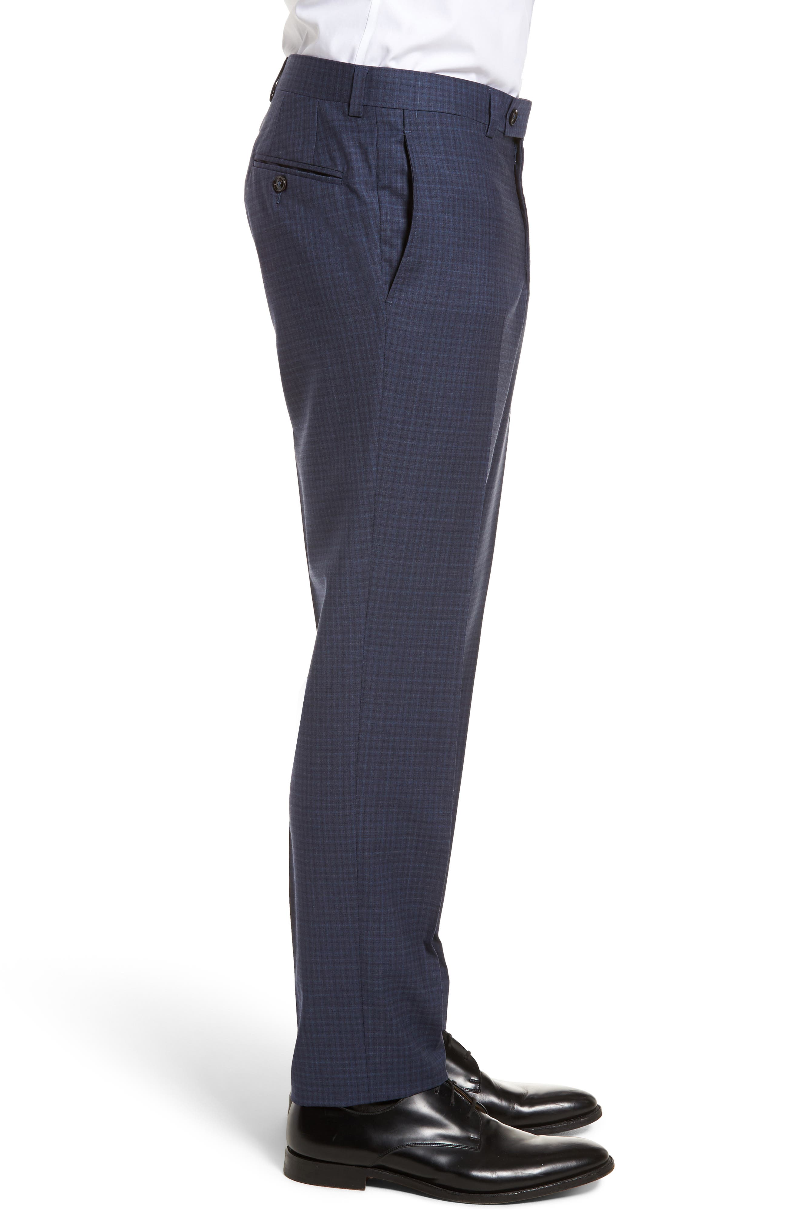 Jefferson Flat Front Check Wool Trousers,                             Alternate thumbnail 3, color,                             Blue