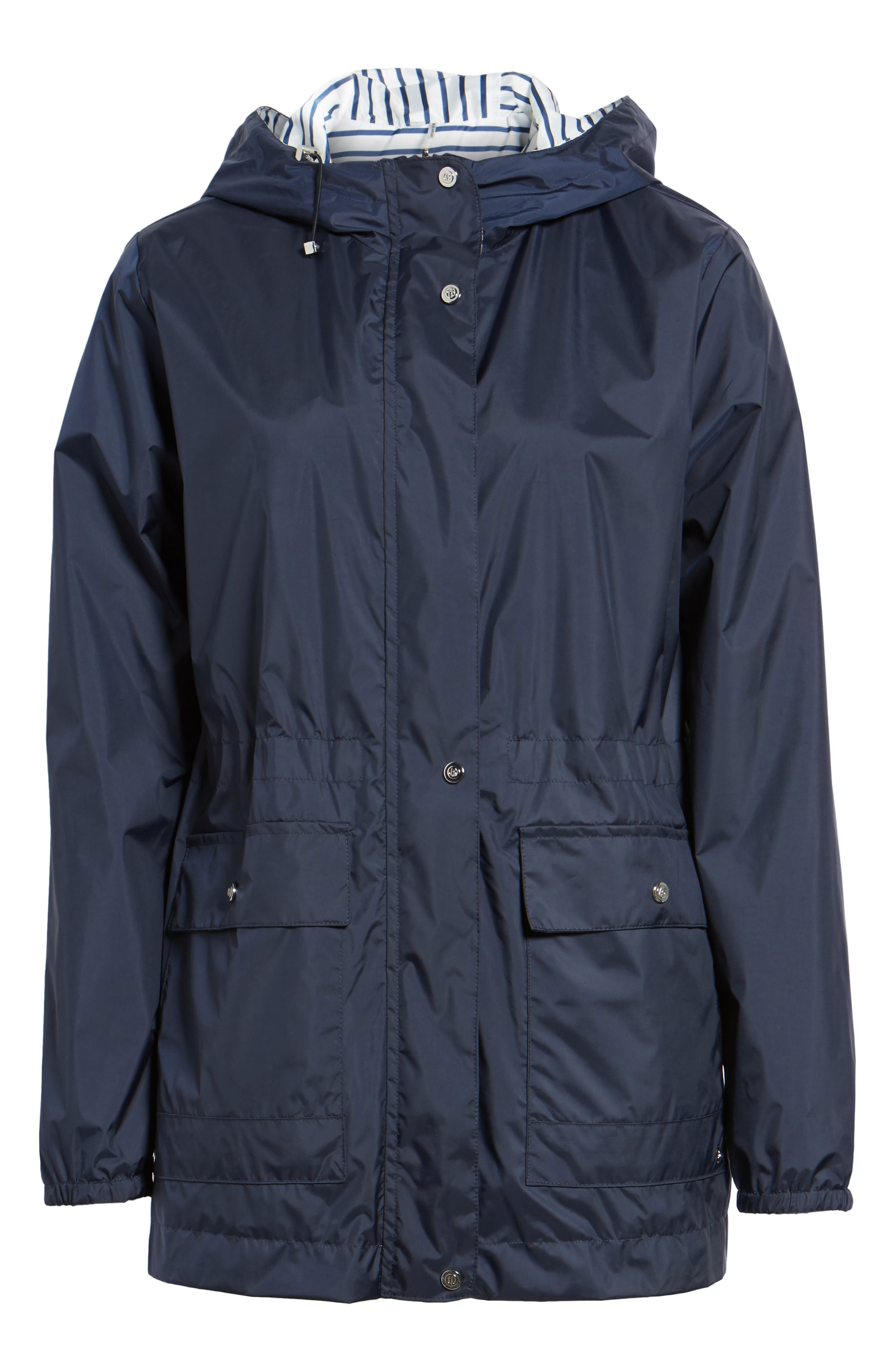 Solid to Stripe Reversible Jacket,                             Alternate thumbnail 6, color,                             Navy