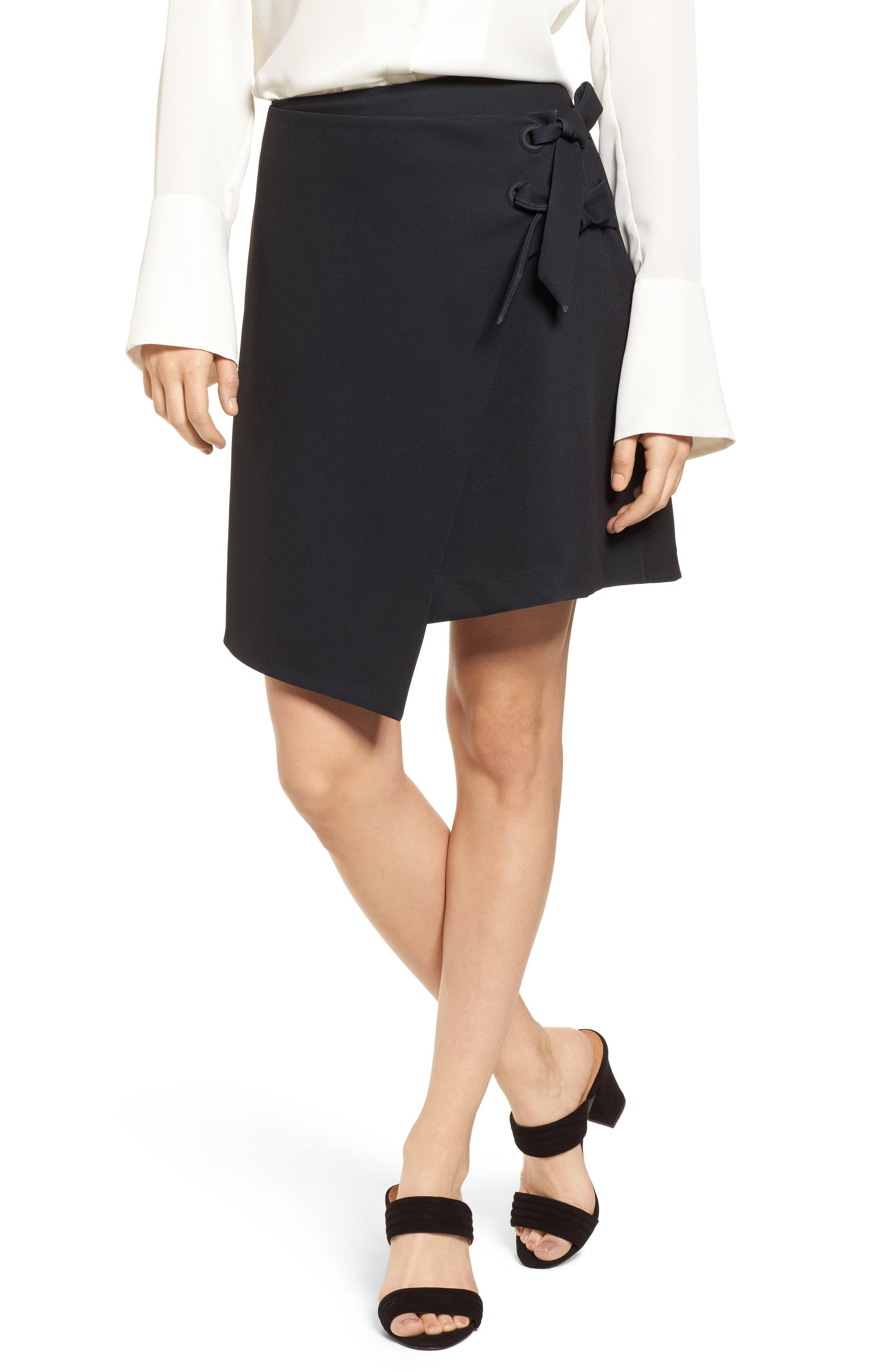 Halogen® Asymmetrical Grommet Tie Skirt (Regular & Petite)