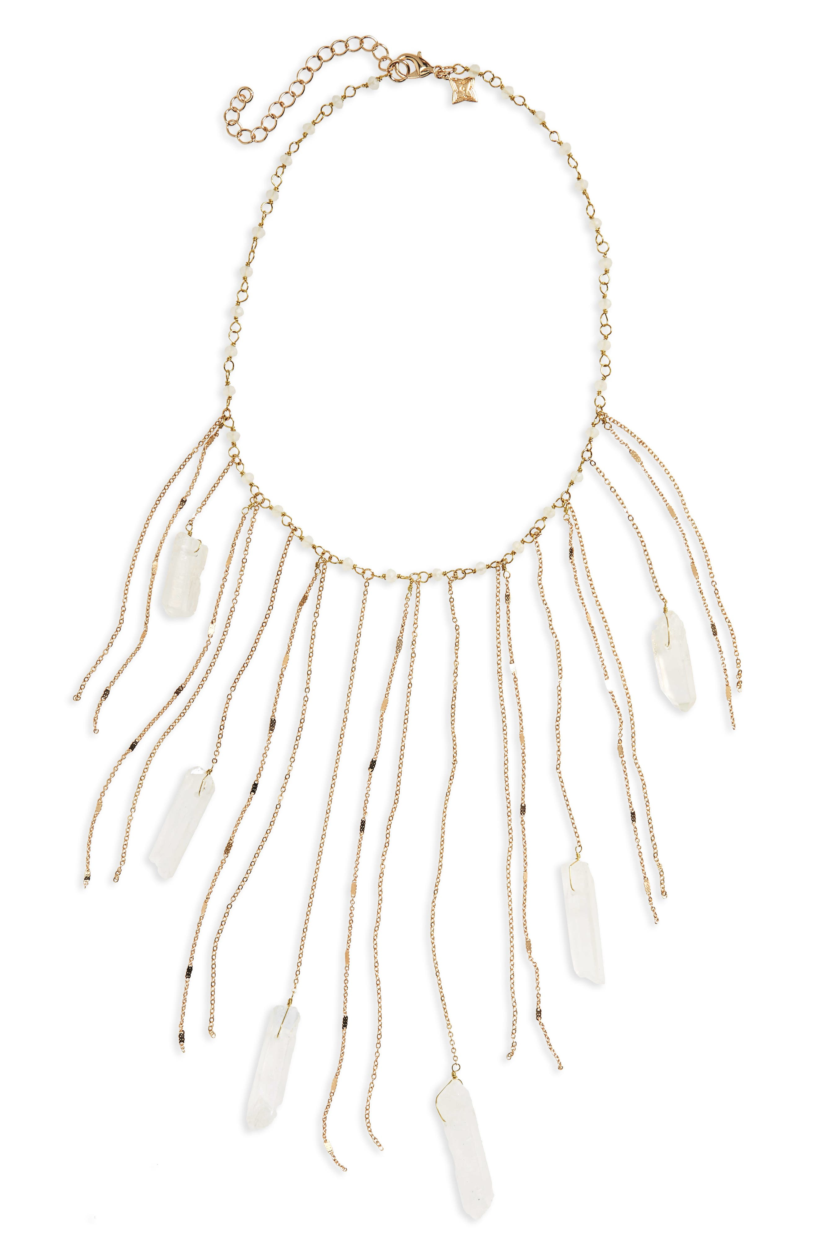 Fringe Statement Necklace,                             Main thumbnail 1, color,                             Gold