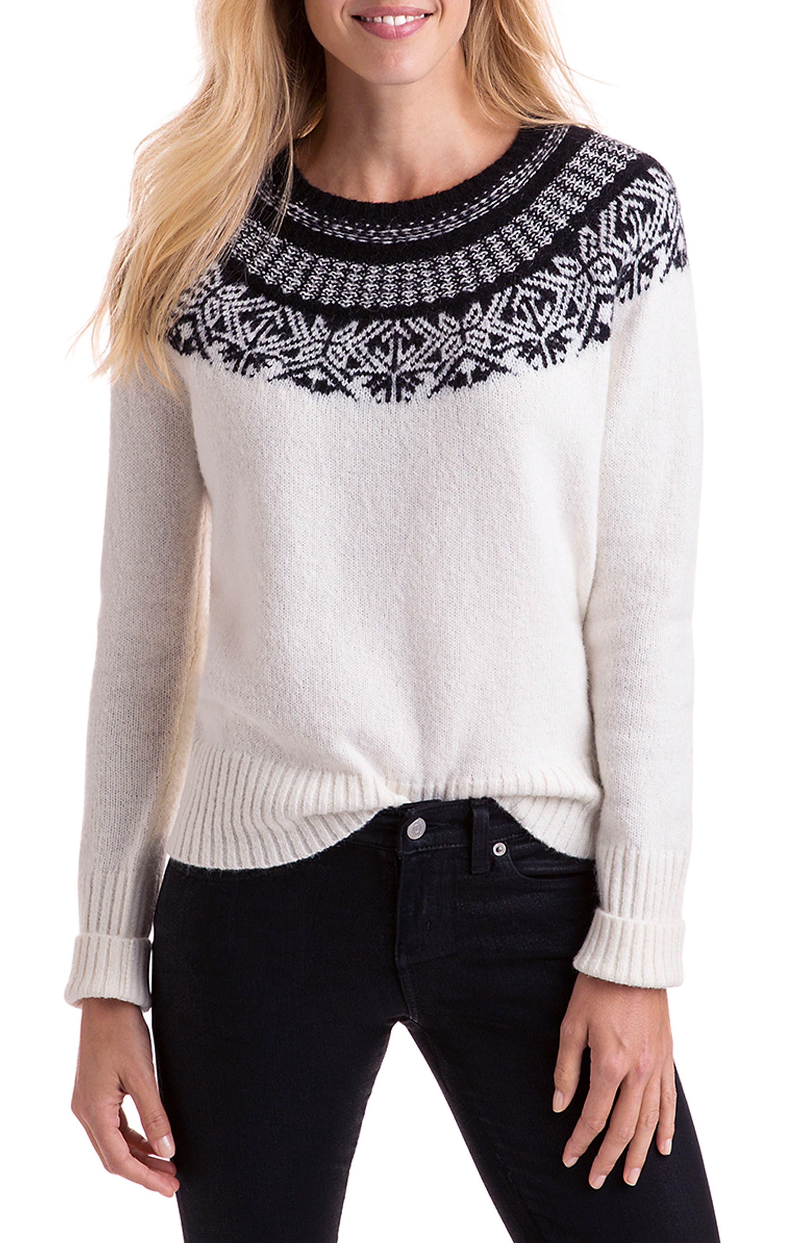 Nordic Fair Isle Sweater,                             Main thumbnail 1, color,                             Ivory