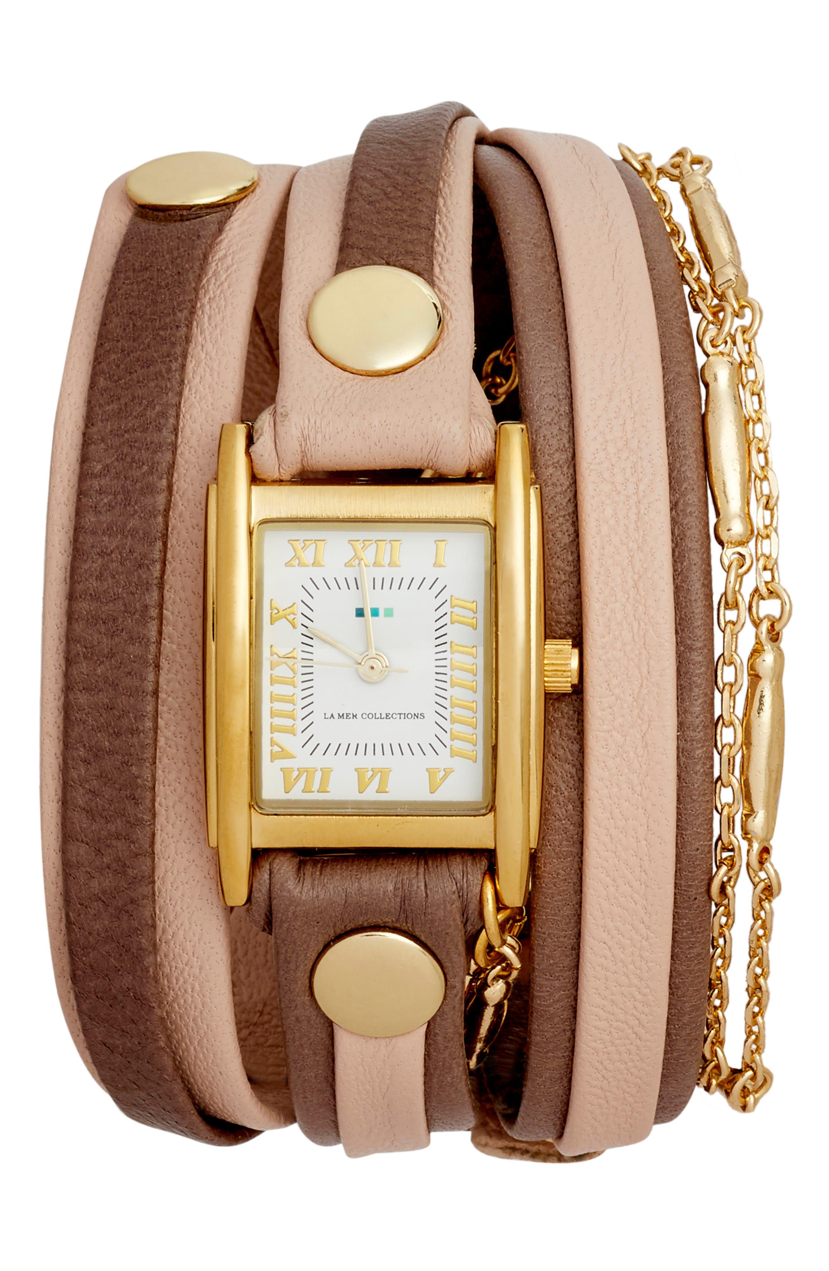 Leather & Lipari Chain Wrap Watch, 25mm,                             Main thumbnail 1, color,                             Blush/ Grey/ Gold