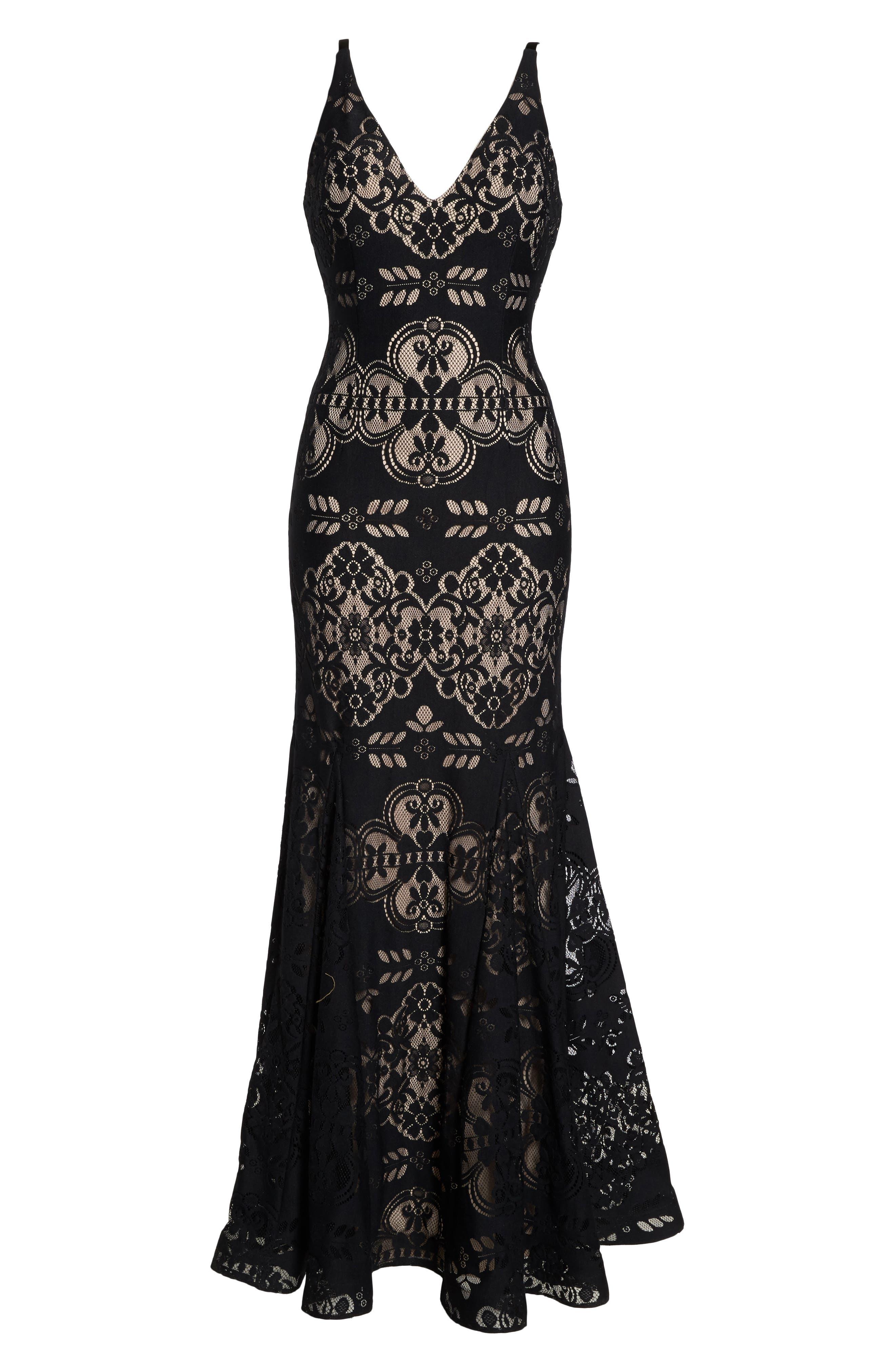 Lace V-Neck Gown,                             Alternate thumbnail 6, color,                             Black/ Nude