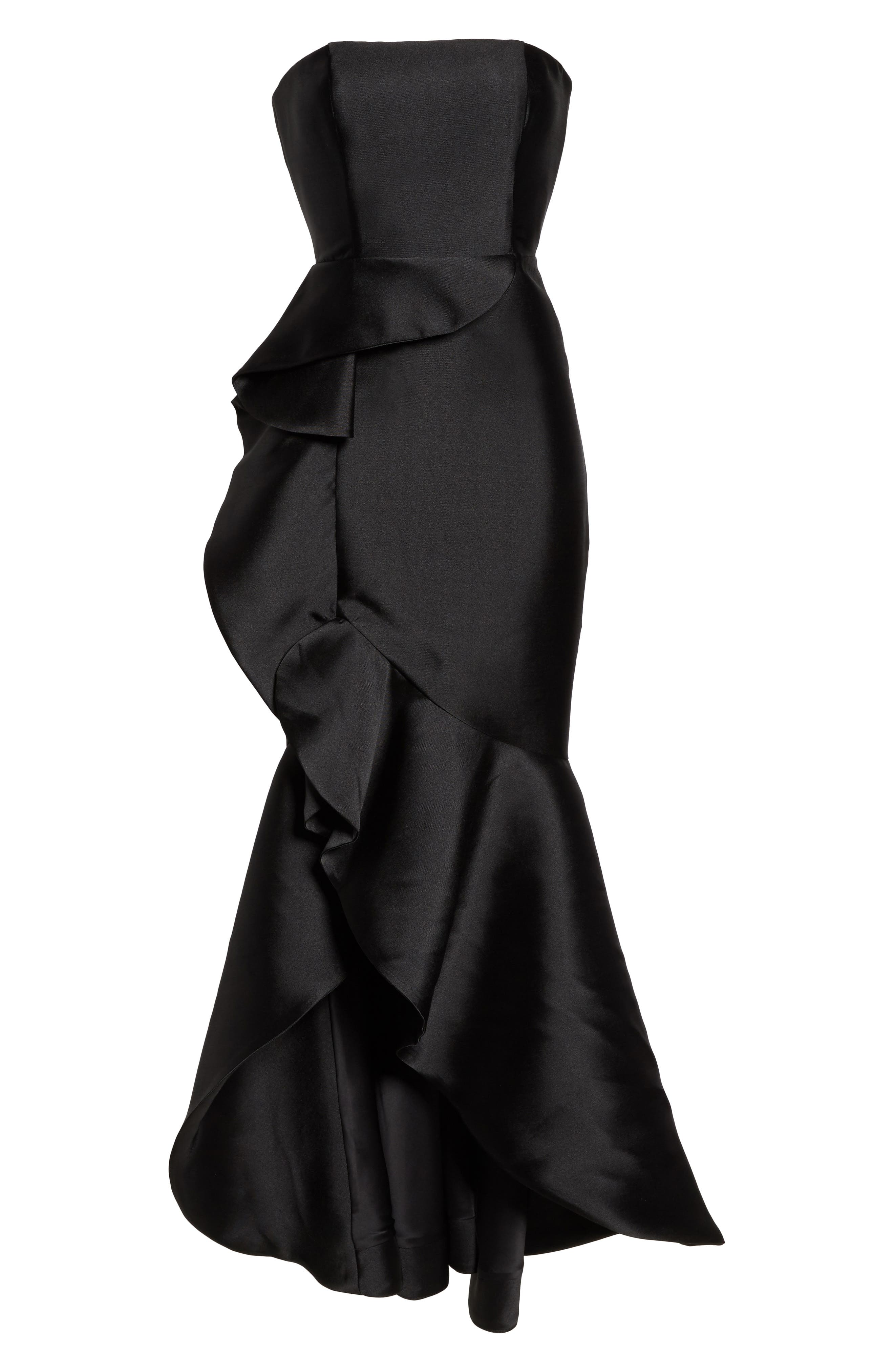 Sellers High/Low Mermaid Gown,                             Alternate thumbnail 6, color,                             Black