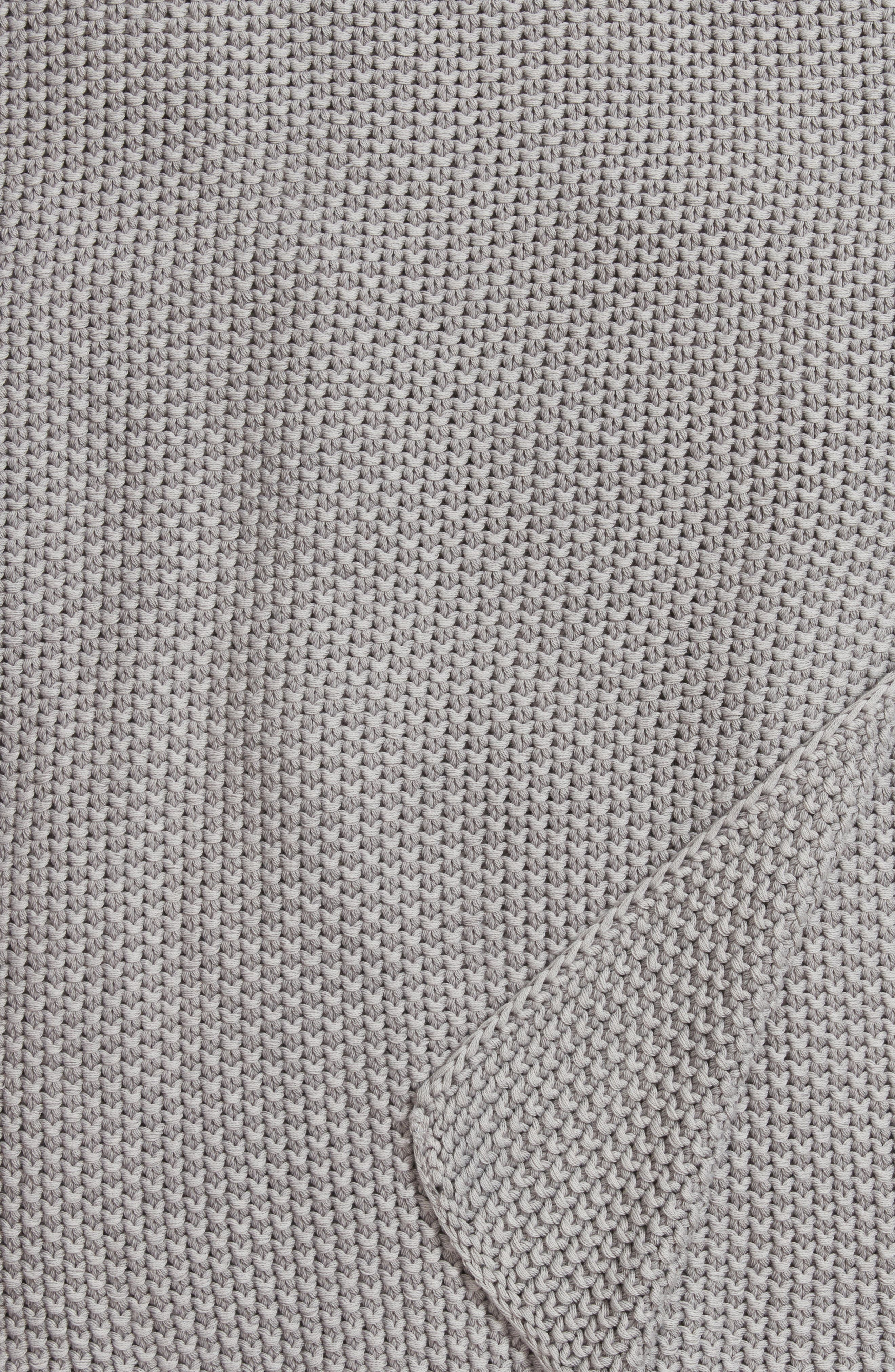 Seed Stitch Throw,                             Alternate thumbnail 2, color,                             Grey Owl