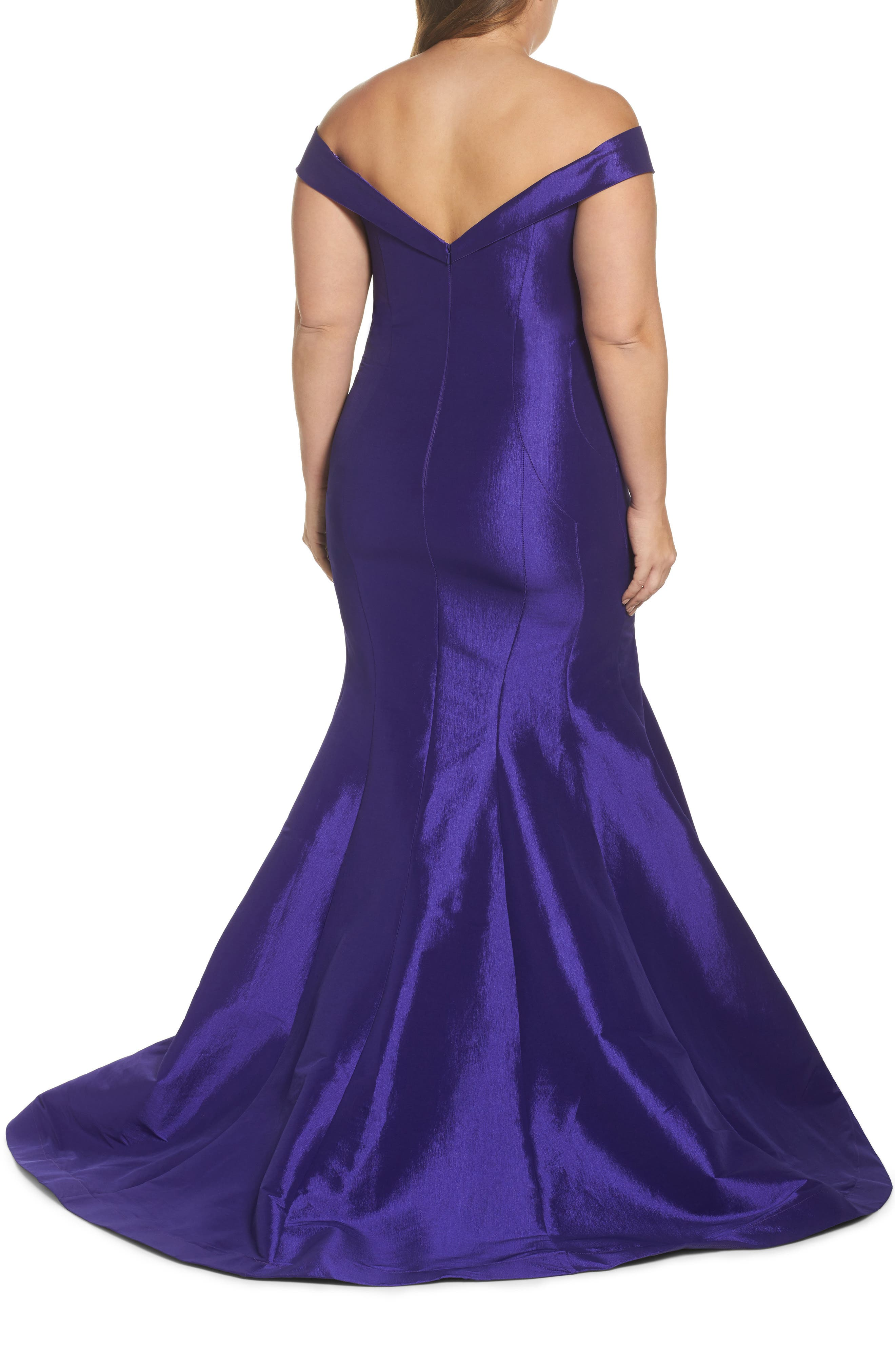 Off the Shoulder Mermaid Gown,                             Alternate thumbnail 2, color,                             Royal/ Purple