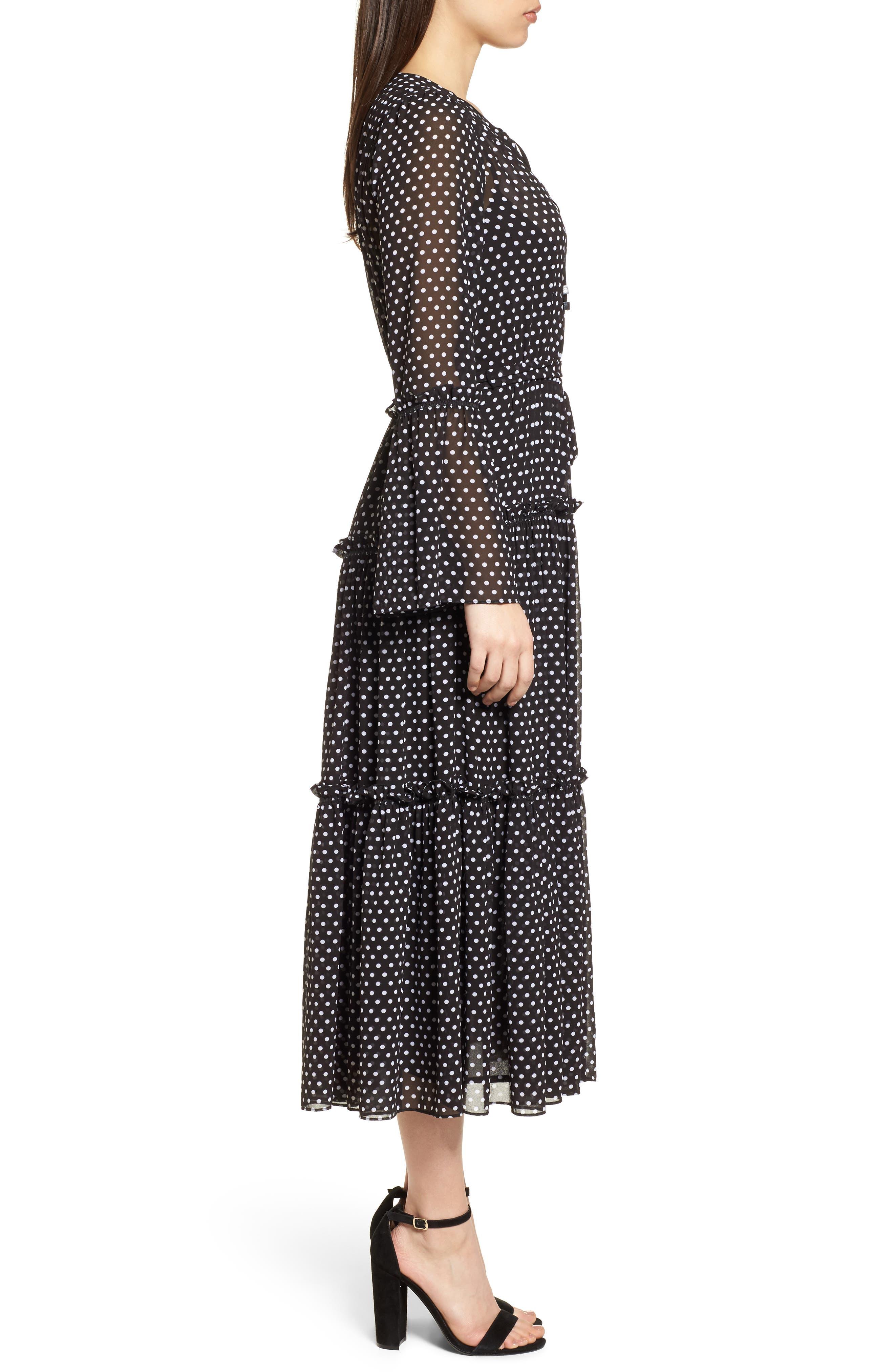 Tiered Dot Boho Dress,                             Alternate thumbnail 3, color,                             Black/ White