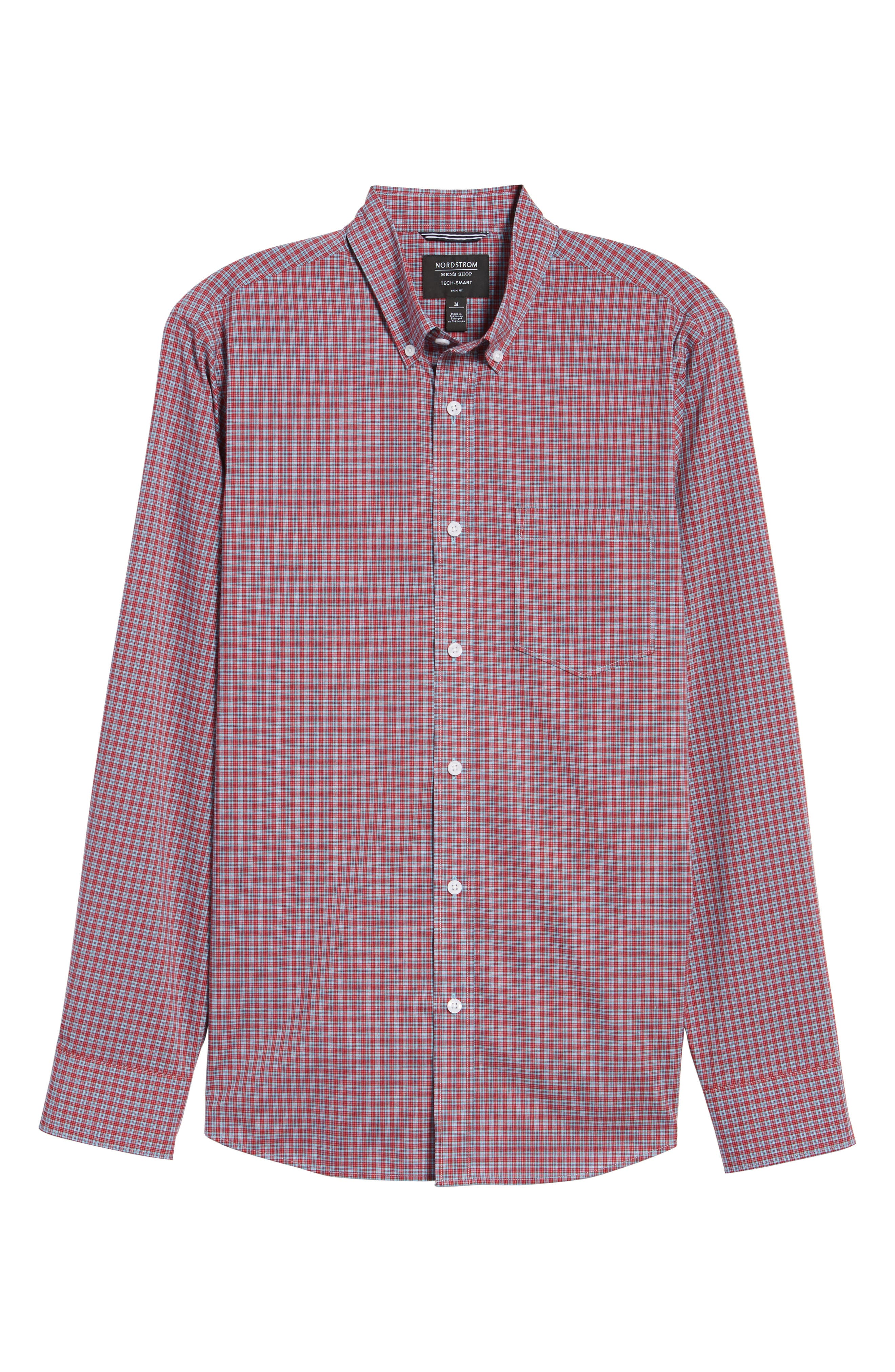 Tech-Smart Trim Fit Check Sport Shirt,                             Alternate thumbnail 6, color,                             Red Pompeii Blue Micro Check