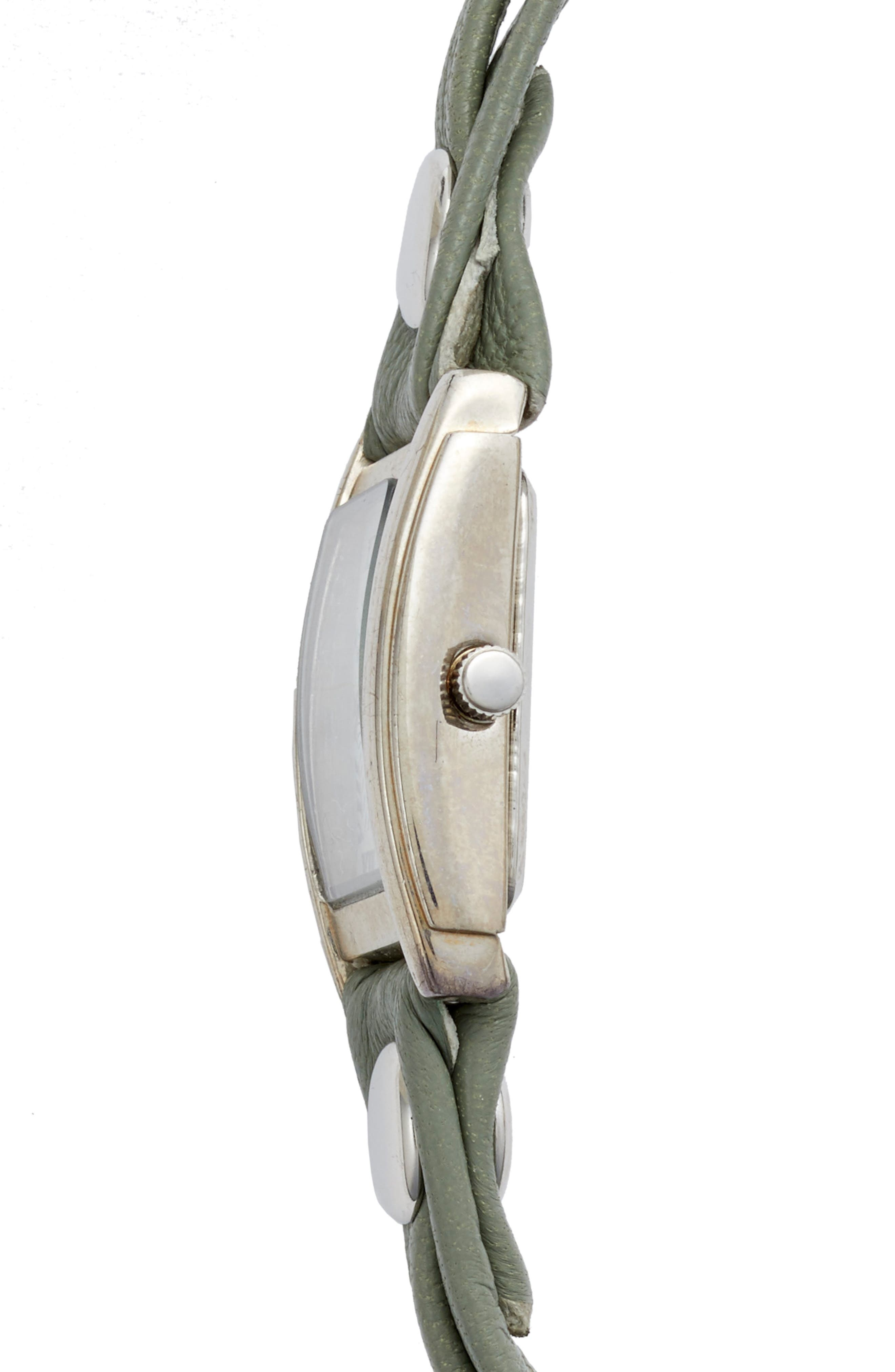 Saturn Leather Strap Wrap Watch, 25mm,                             Alternate thumbnail 2, color,                             Sage/ White/ Silver