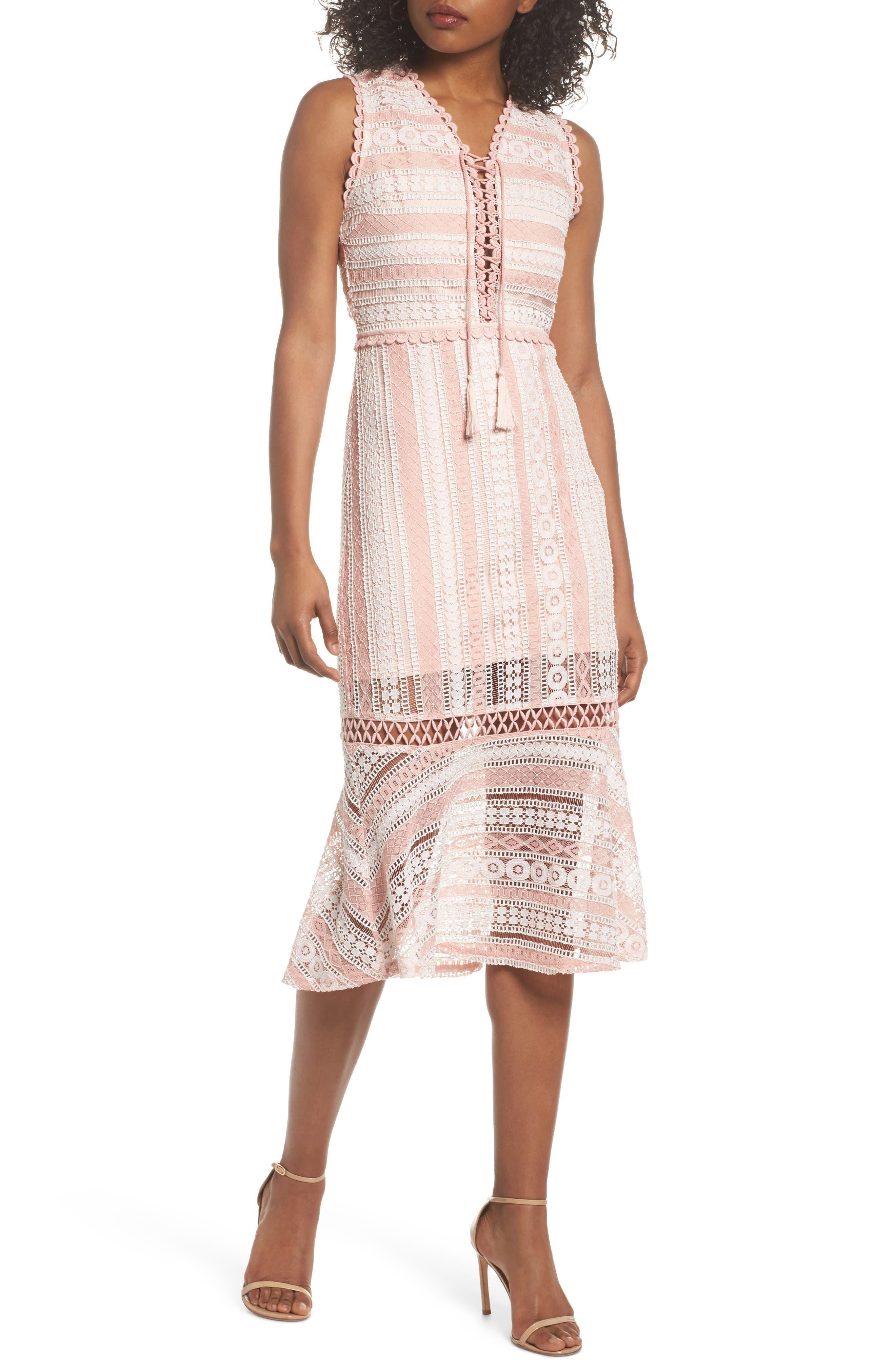 Clarinda Lace Midi Dress,                             Main thumbnail 1, color,                             Pink