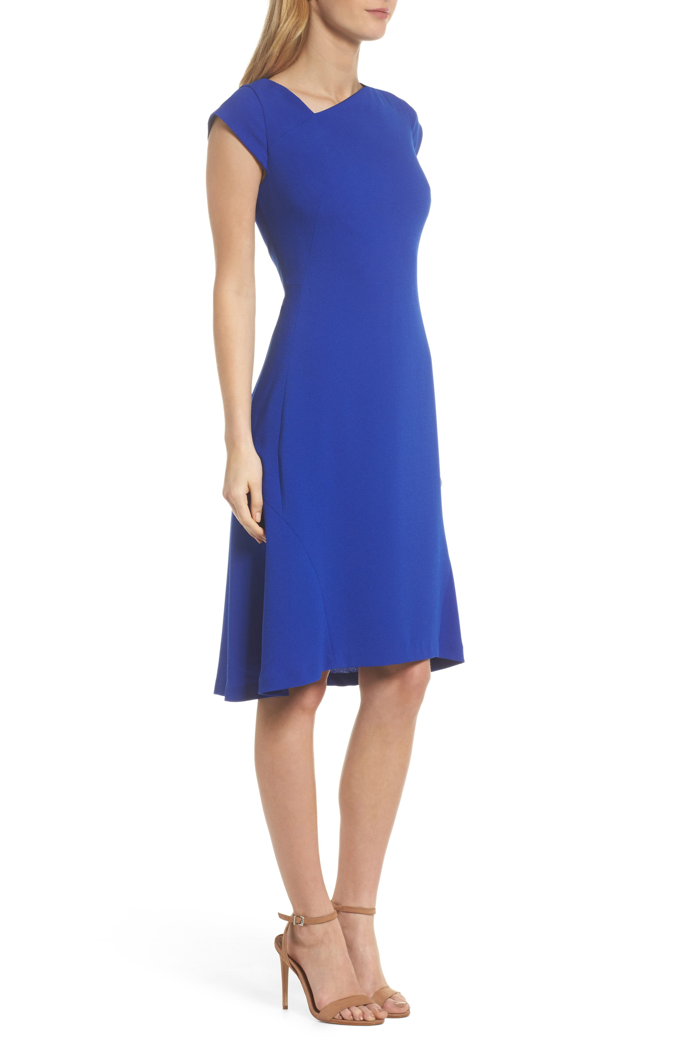 Asymmetrical Neck Fit & Flare Dress,                             Alternate thumbnail 3, color,                             Royal