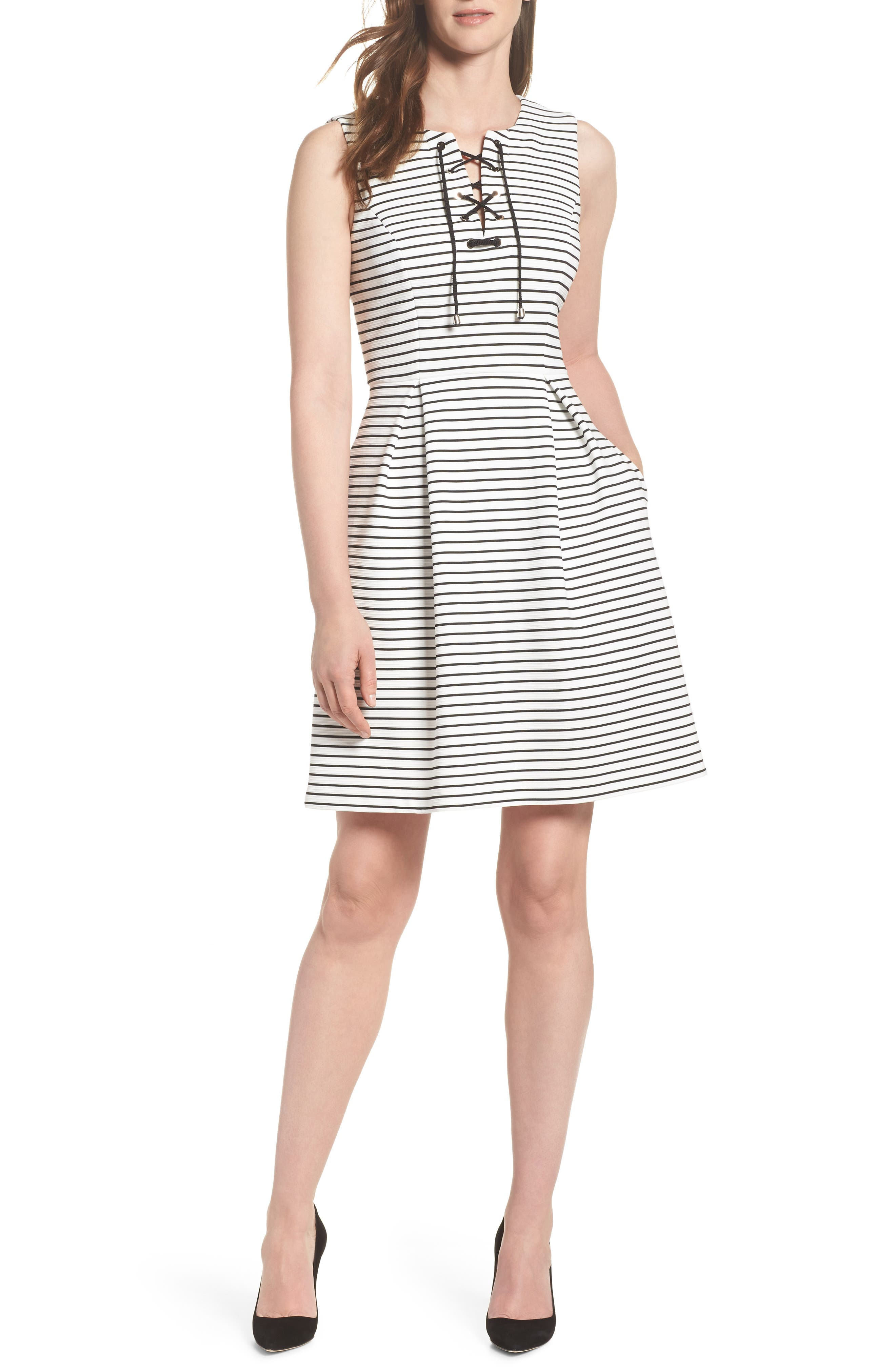 Stripe Fit & Flare Dress,                             Main thumbnail 1, color,                             Ivory/ Black