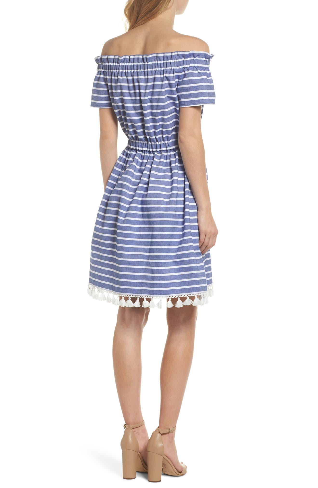 Stripe Off the Shoulder Dress,                             Alternate thumbnail 2, color,                             Navy/ Ivory