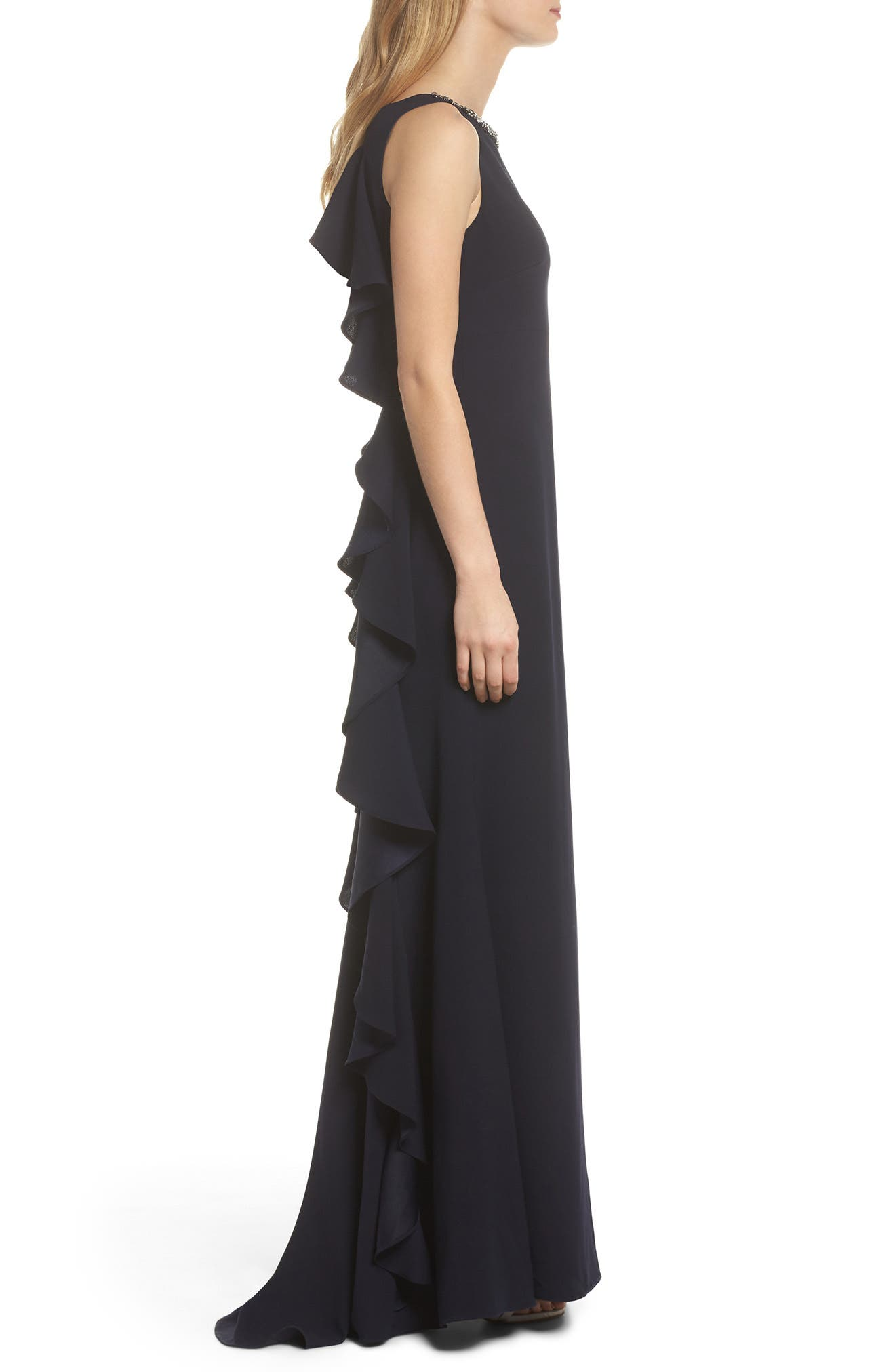 Embellished Ruffle Back Crepe Gown,                             Alternate thumbnail 3, color,                             Navy