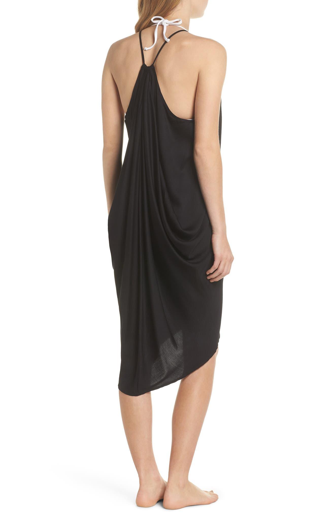 California Core Pali Wrap Cover-Up Dress,                             Alternate thumbnail 2, color,                             Black