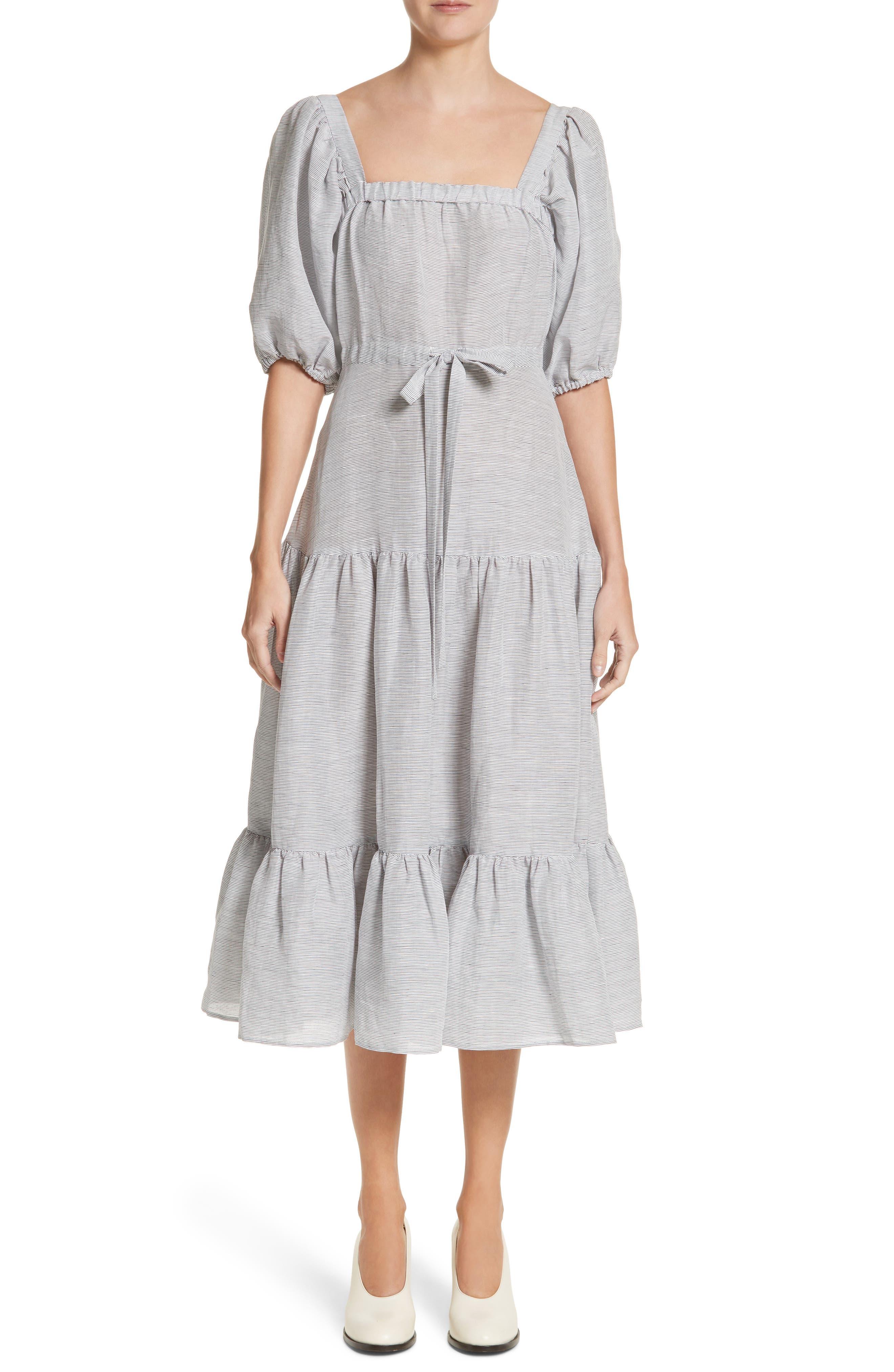 Co Stripe Linen & Silk Tiered Midi Dress