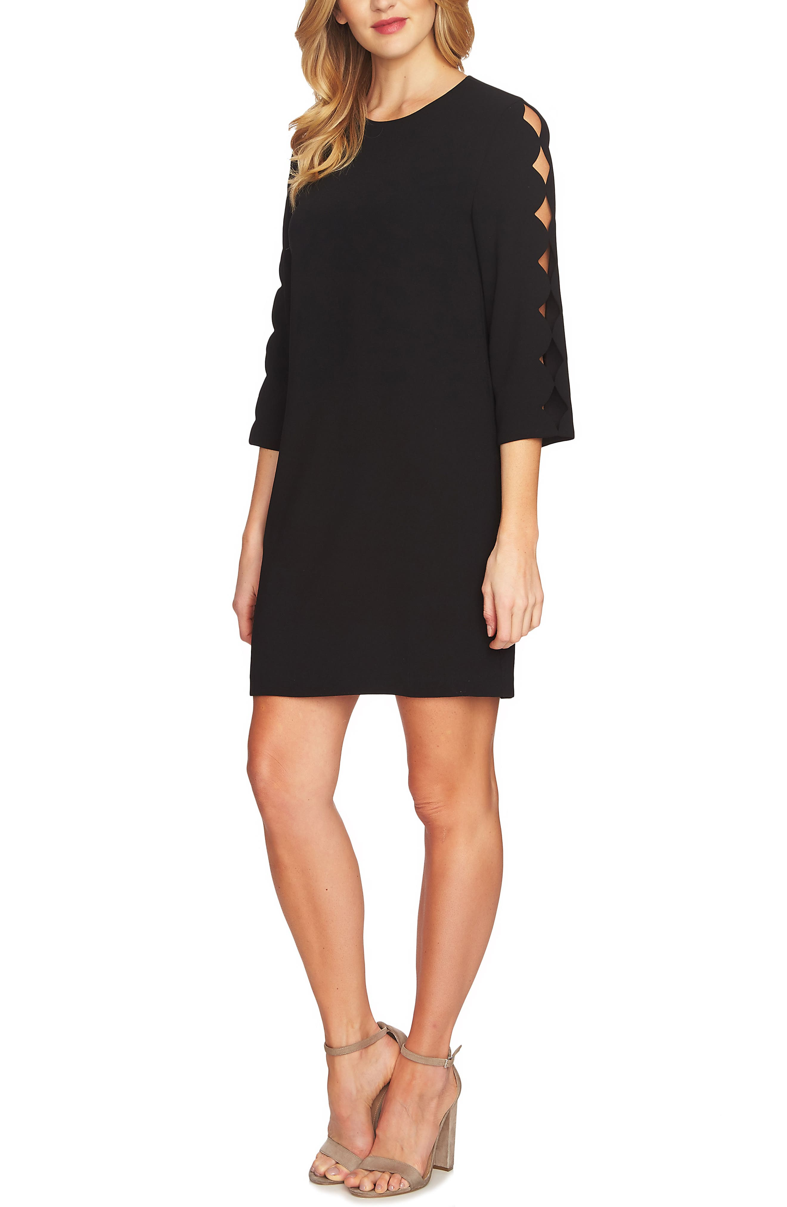 Cutout Sleeve Shift Dress,                         Main,                         color, Rich Black