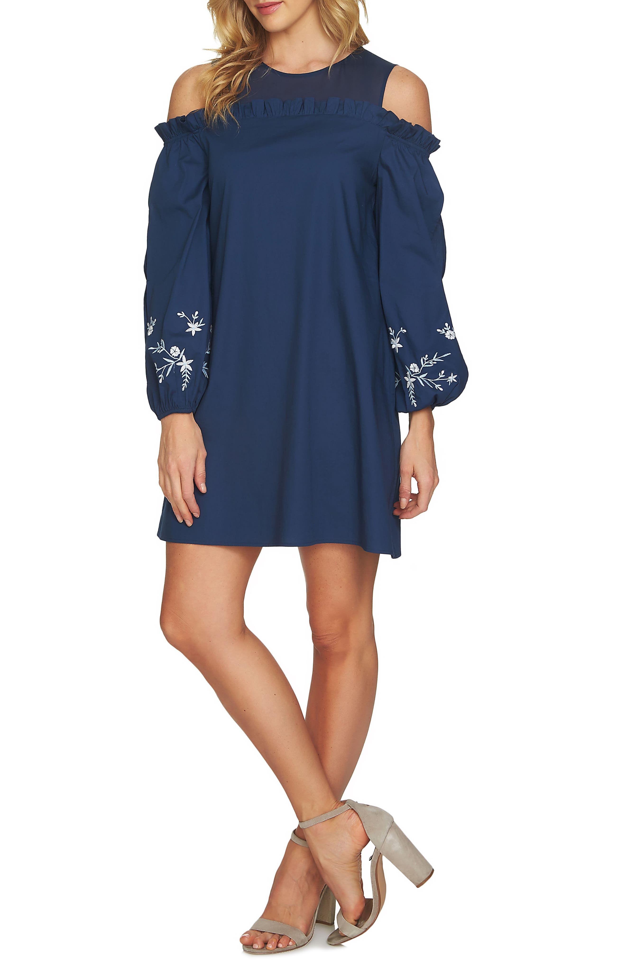 Cold Shoulder Embroidered Shift Dress,                             Main thumbnail 1, color,                             Indigo Sky