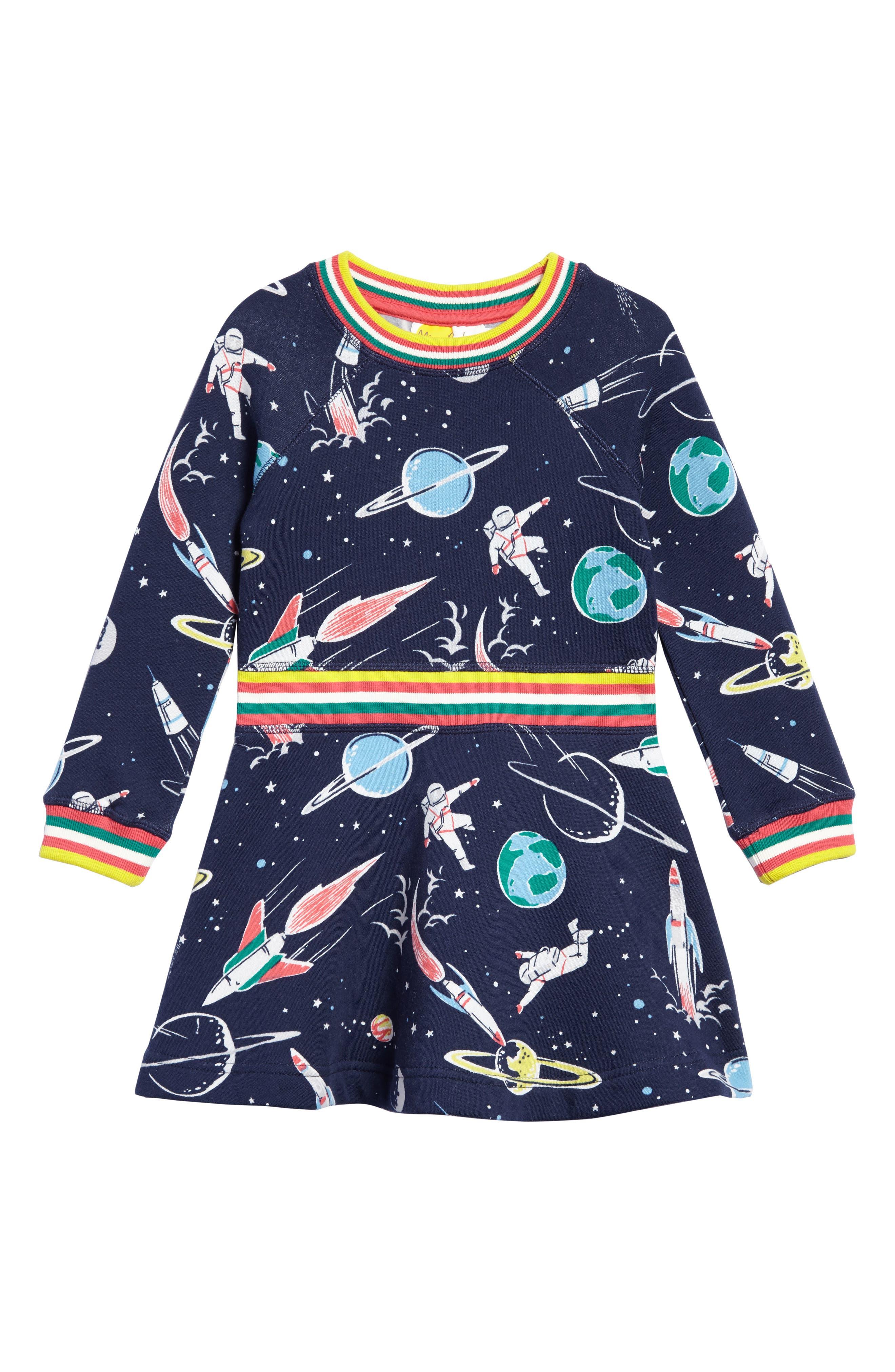 Space Sweatshirt Dress,                         Main,                         color, School Navy Space