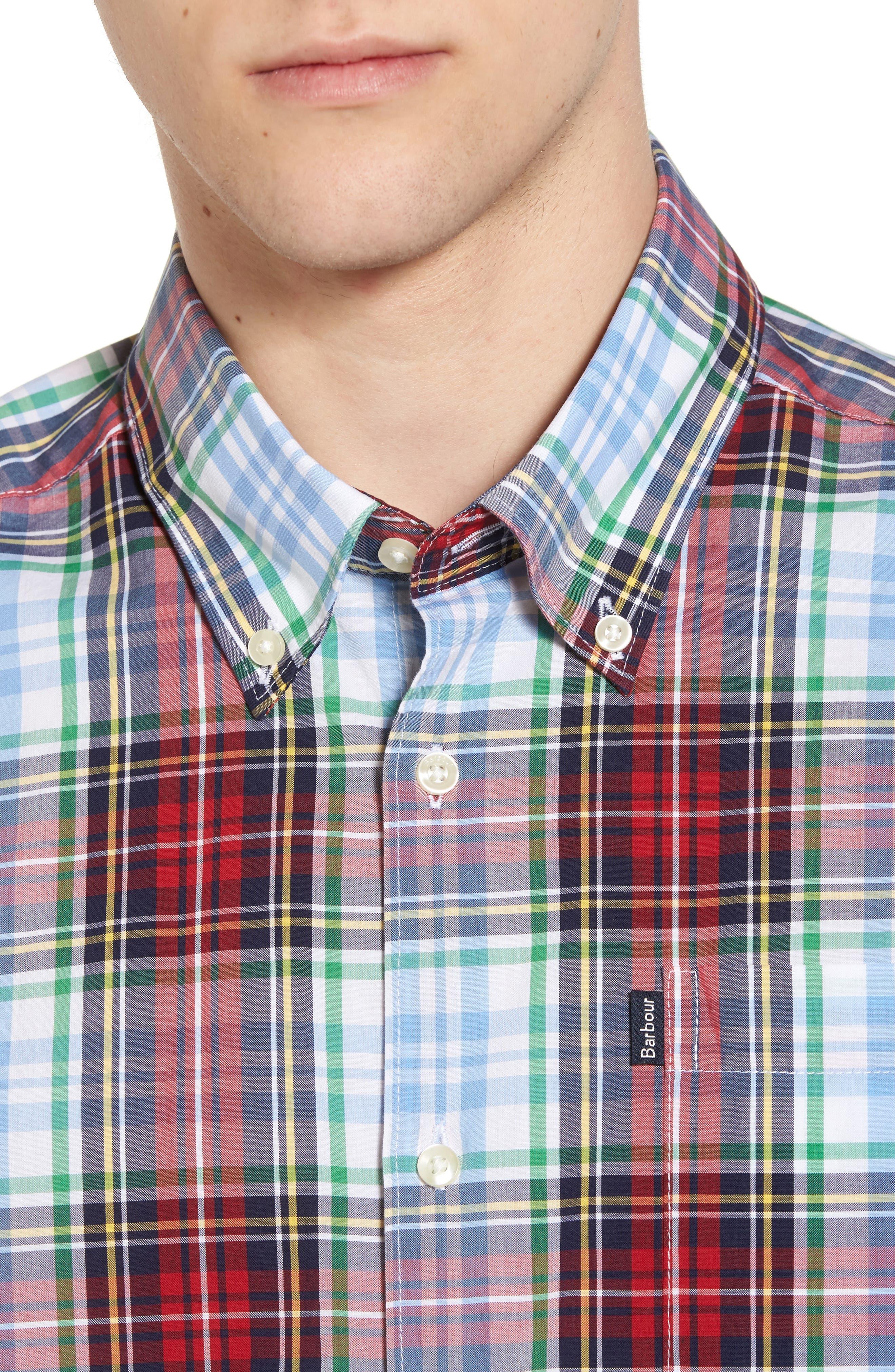 Jeff Trim Fit Plaid Sport Shirt,                             Alternate thumbnail 4, color,                             Red